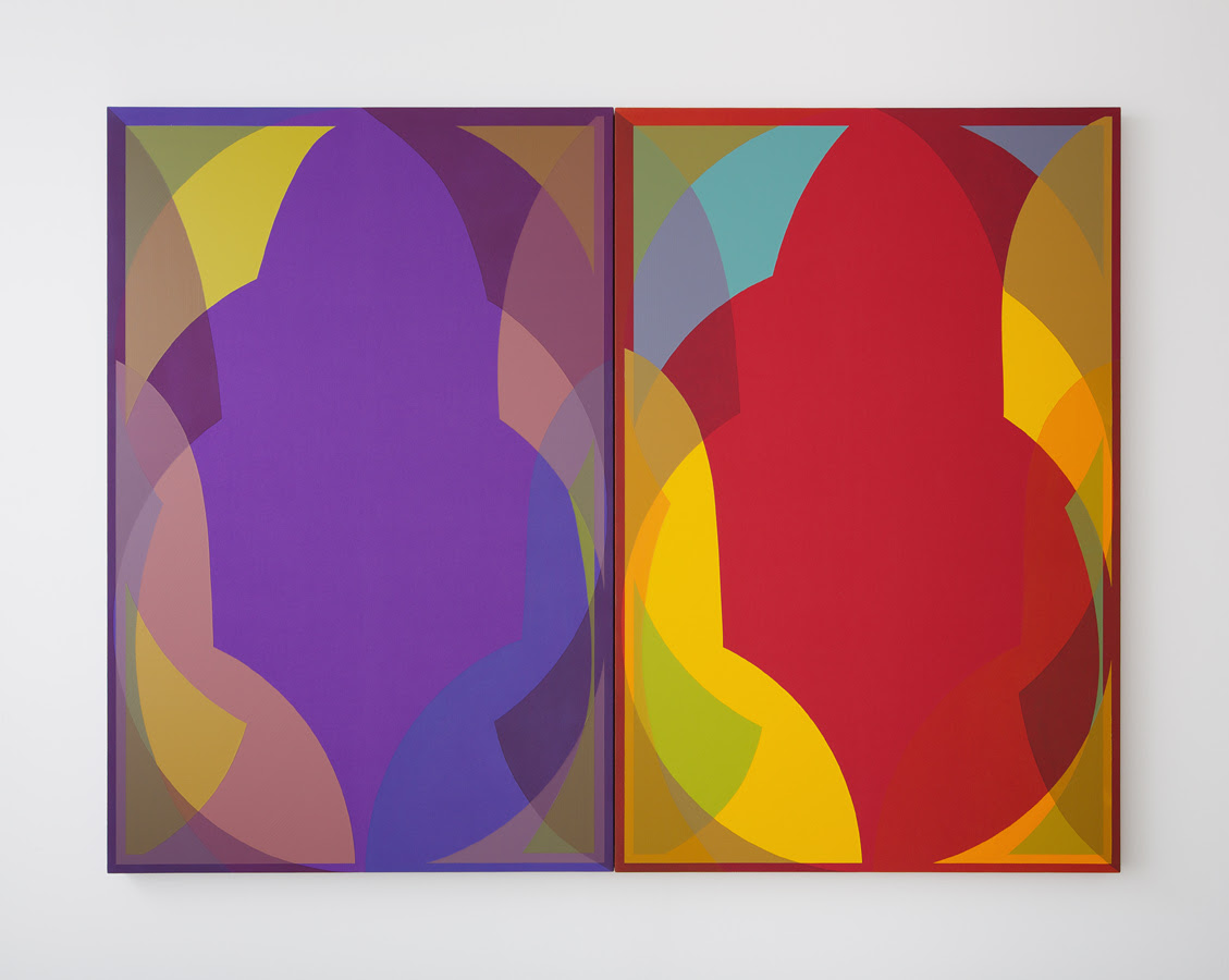 Halsey Hathaway. Untitled , Acrylic on dyed canvas (2 parts), 60 x 80 inches