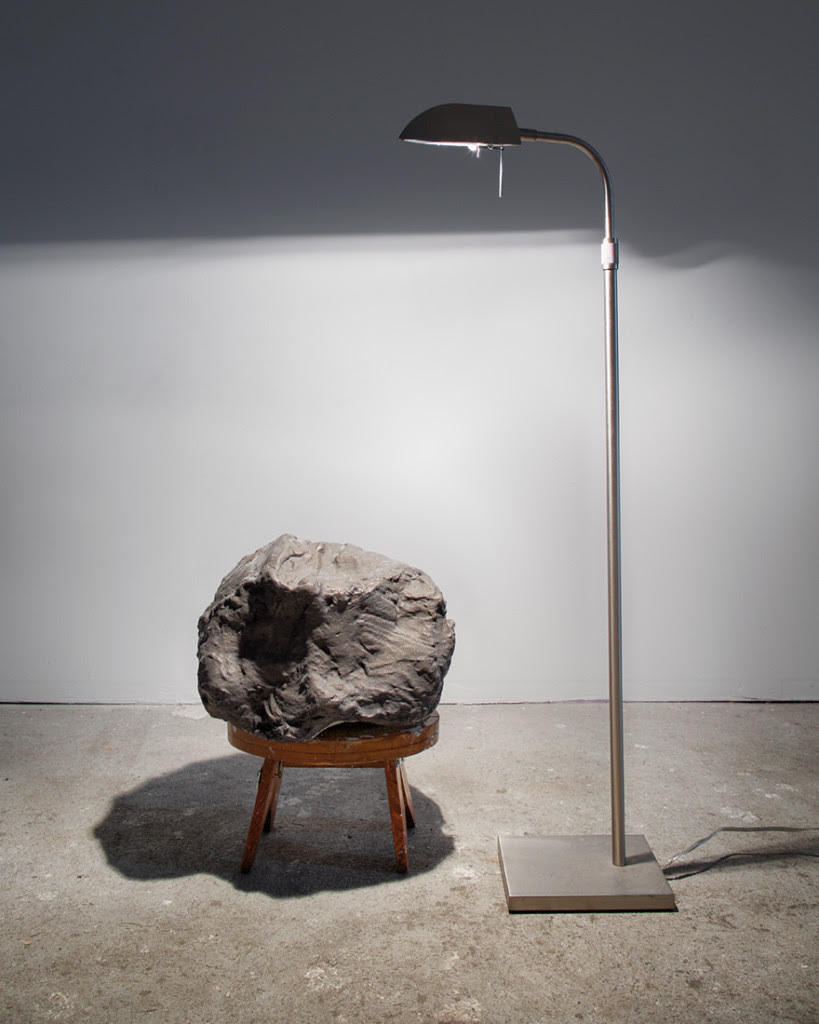 Fancy rubble or an asteroid , 2014, Ceramic plaster, house paint, reflection, light, 4 x 3 x 2′