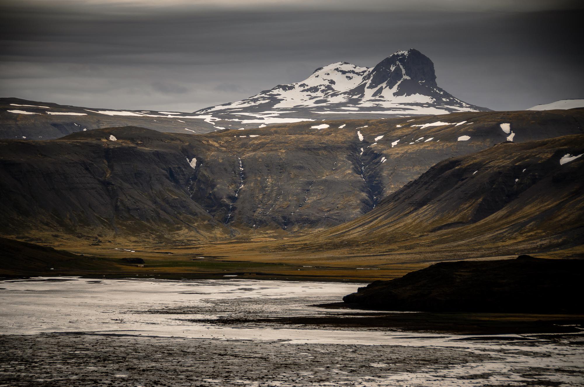 Snowcapped mountain peaks on Snæfellsnes