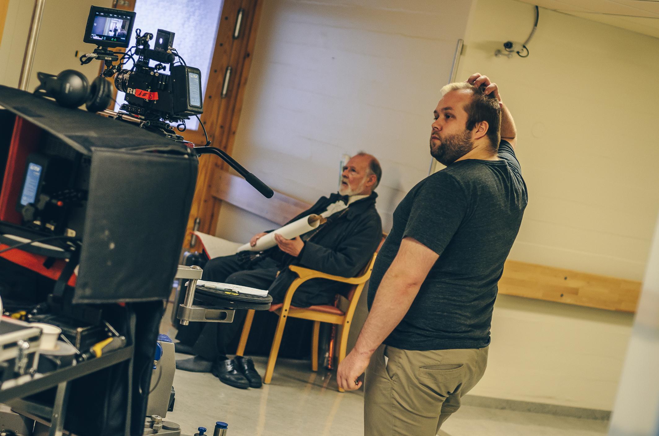 Eyþór in his natural habitat, on set. Working on Arnbjörn