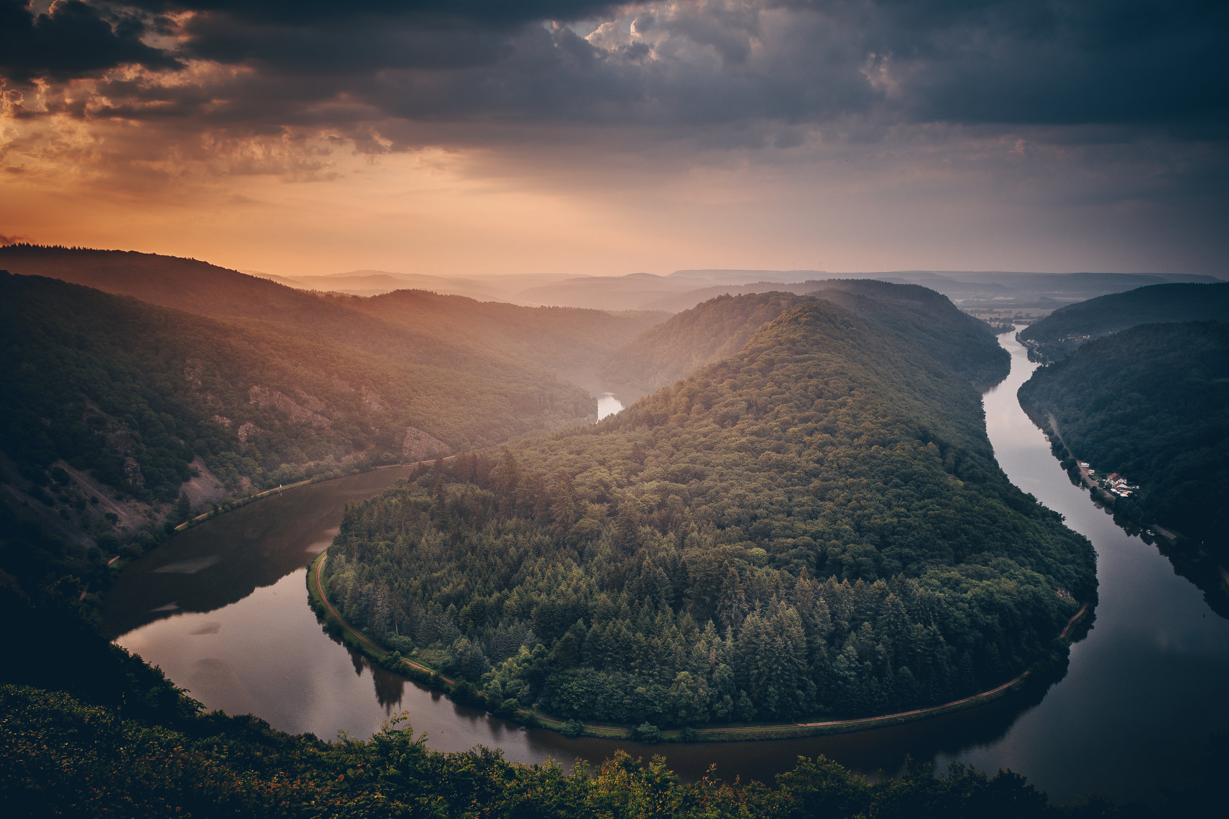 The amazing Saarschleife in Germany, right after sunset.