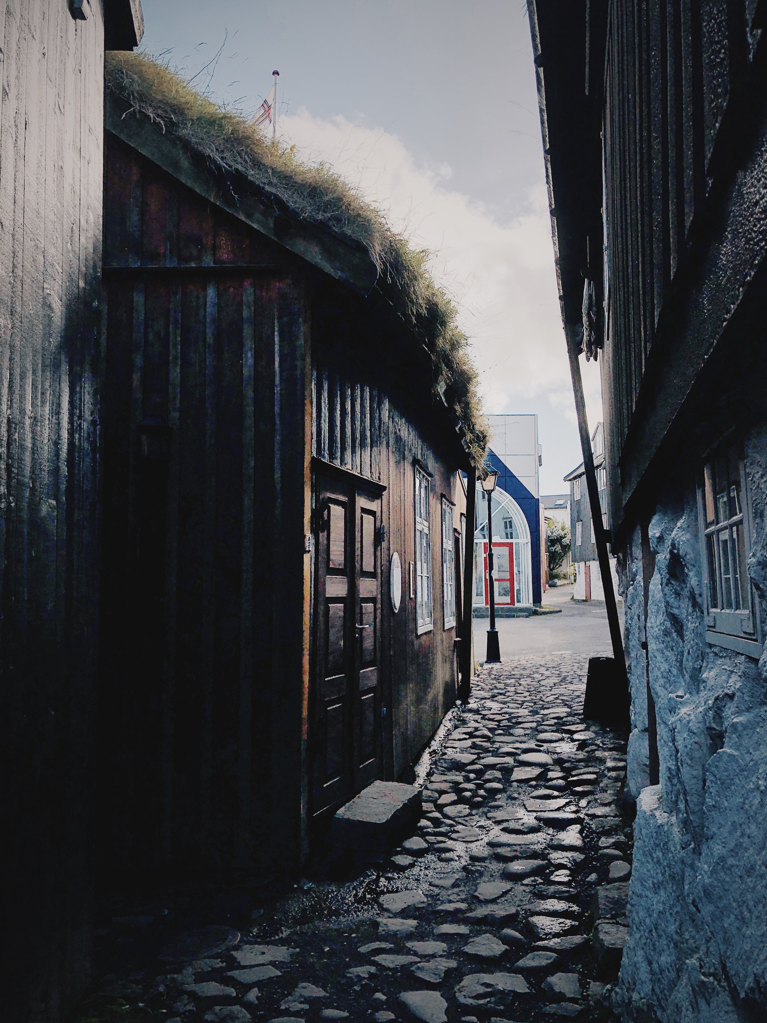Narrow streets, down by  Áarstova . One of the best restaurants in The Faroe Islands.