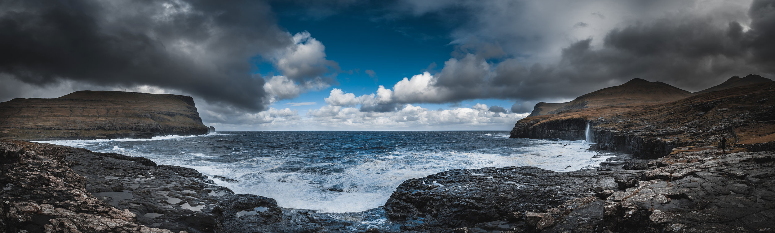 Panorama of the entire coastline just outside of Eiði.