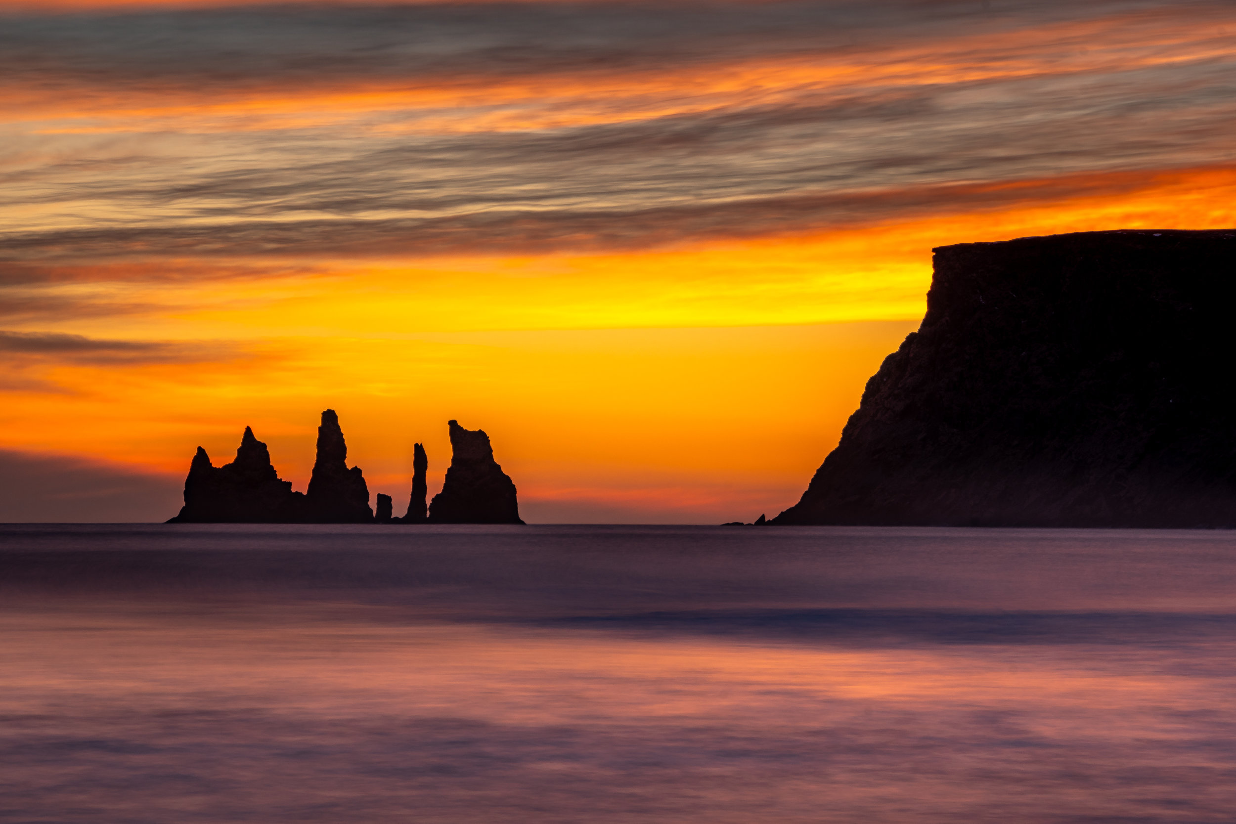 The Reynisdrangar sea stacks seen from Vik