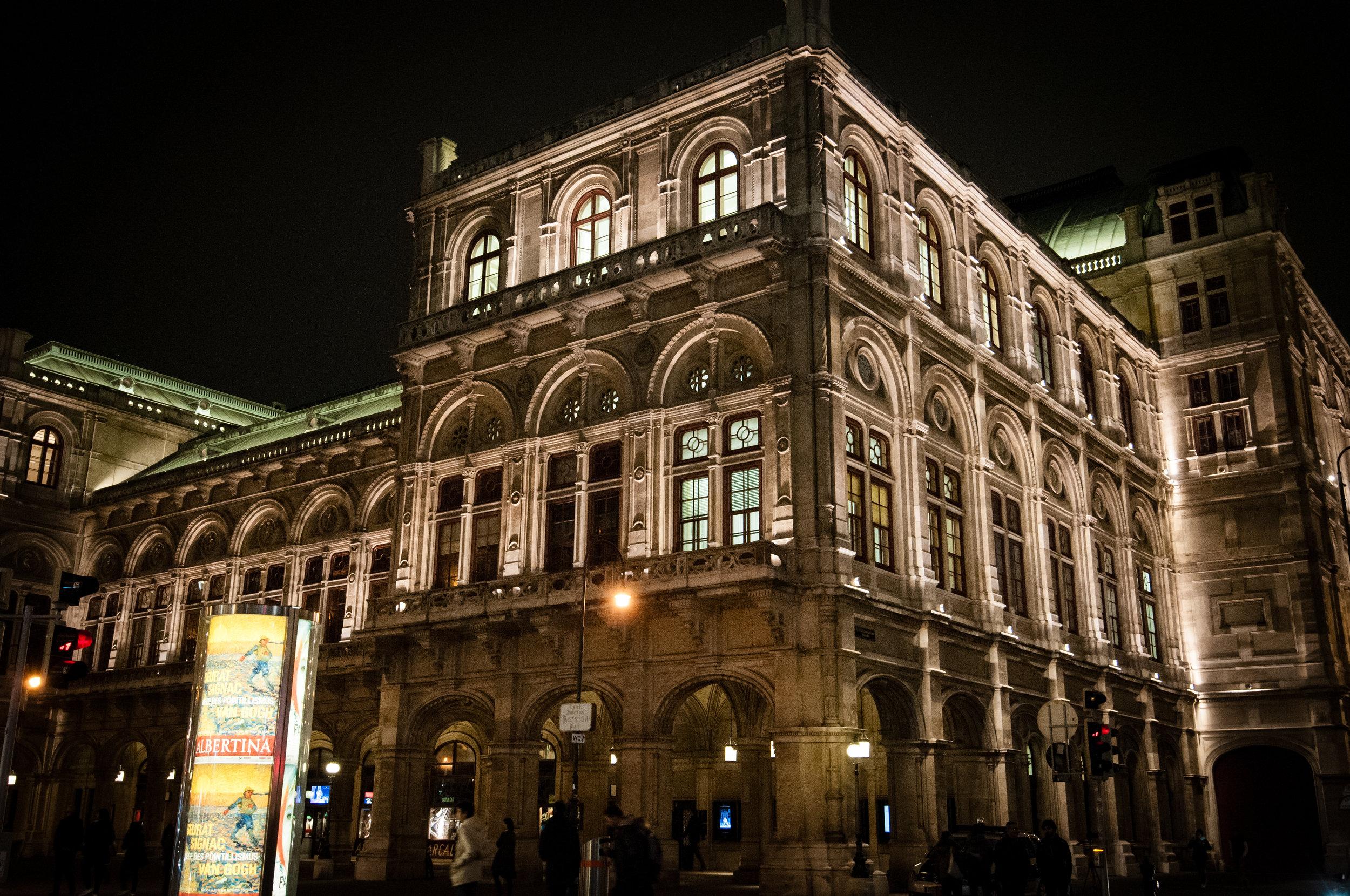 Opera House at Night, Vienna