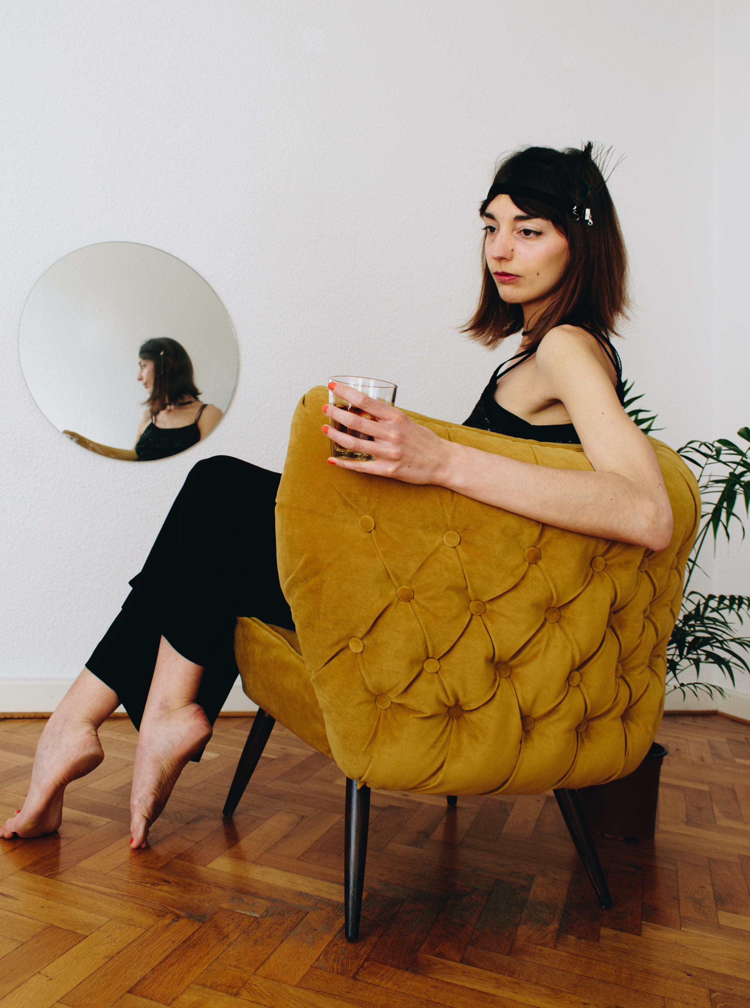 Mustard button back cocktail chair