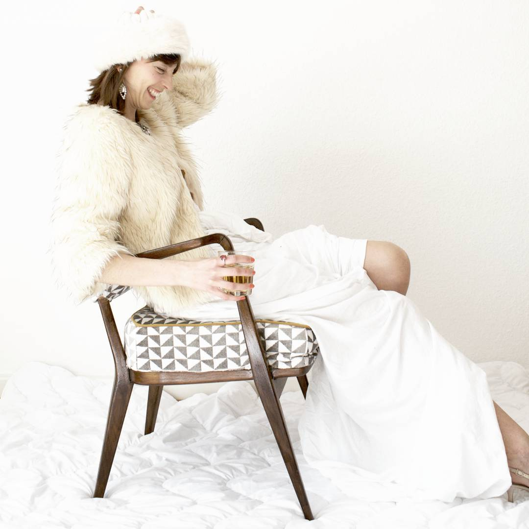 Grey geometric print Knoll Antimott Chair
