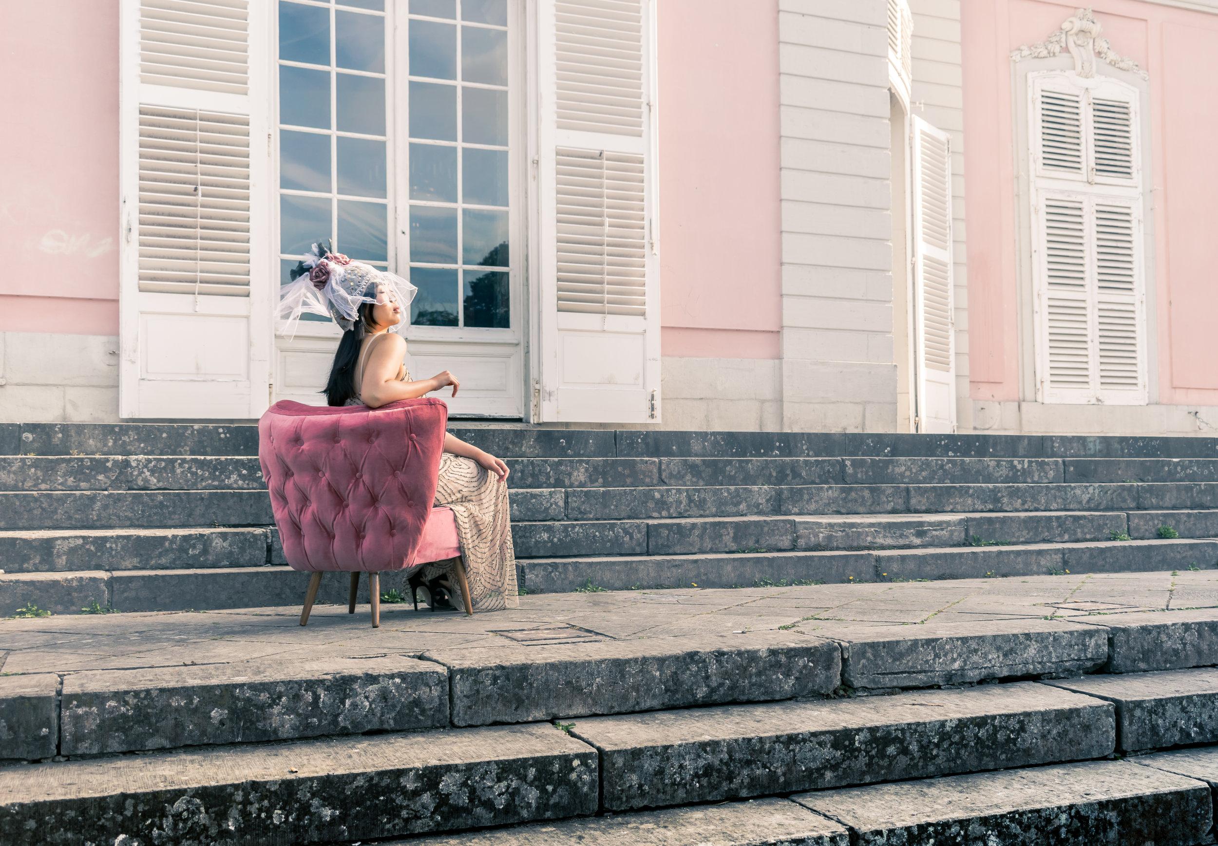pink velvet cocktail chair