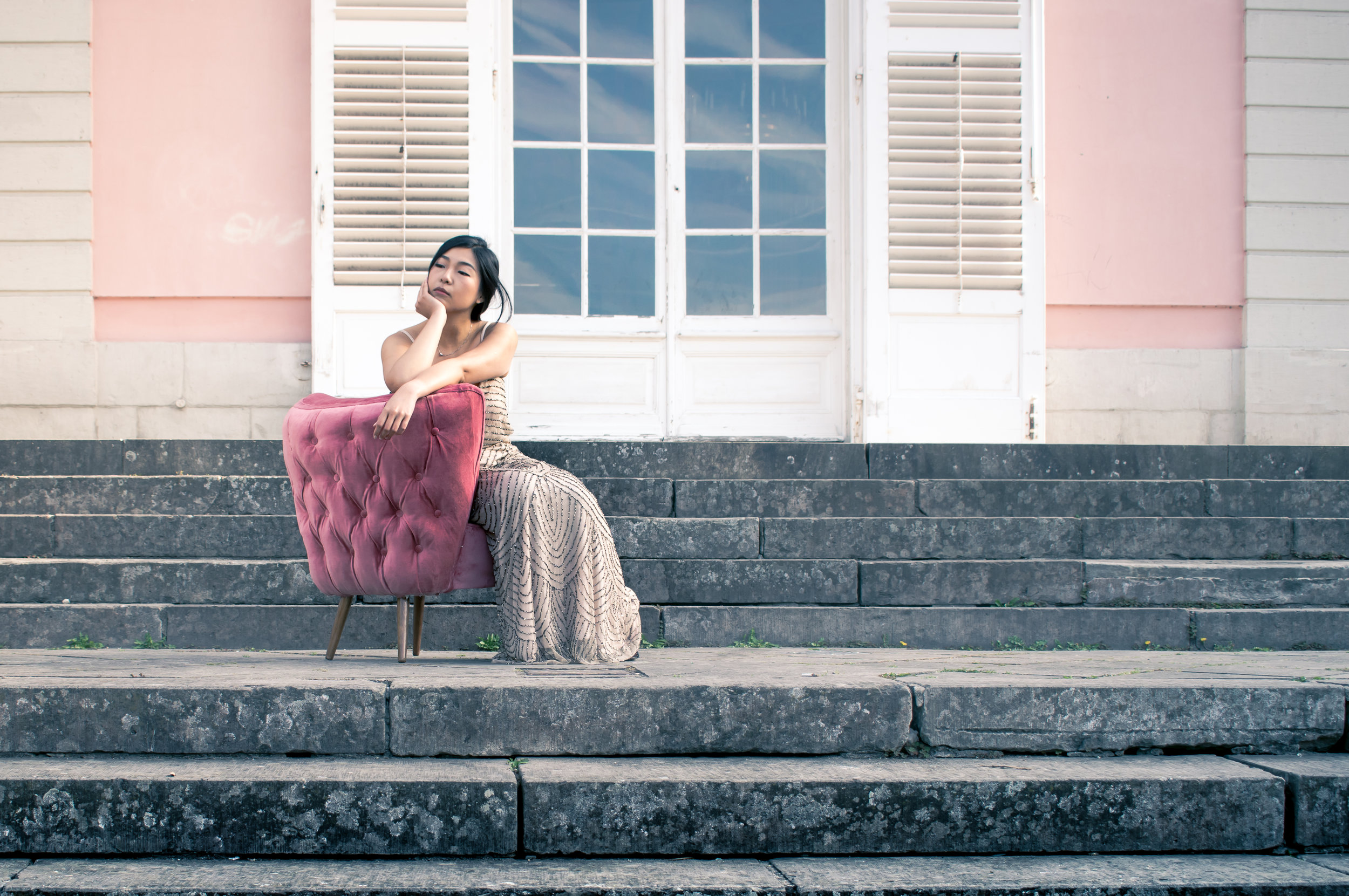 Chinese beauty with pink cocktail chair