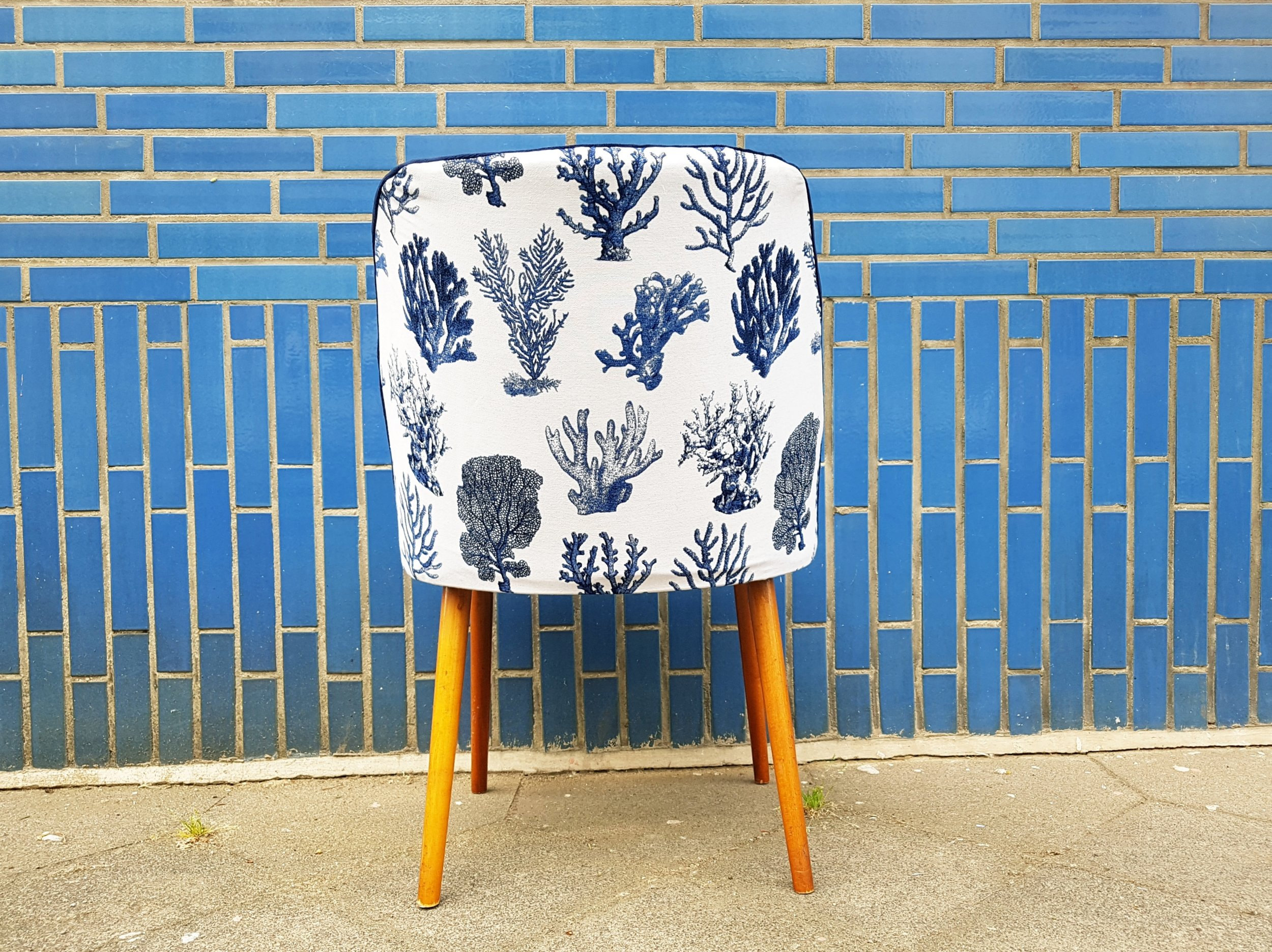 blue coral accent chair