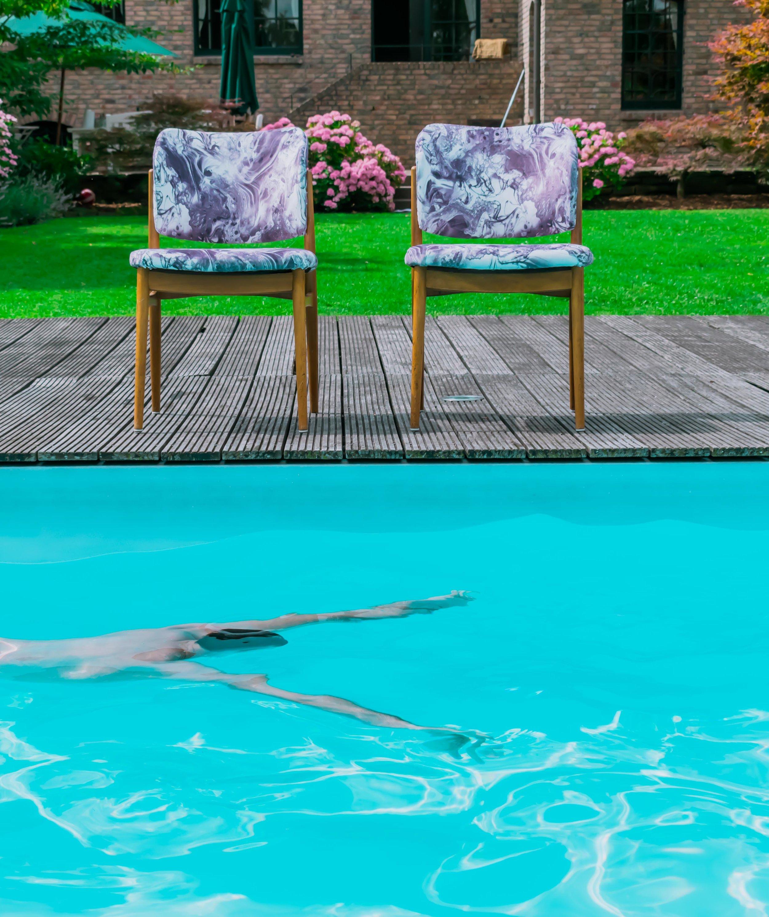 Marble velvet print dining chairs