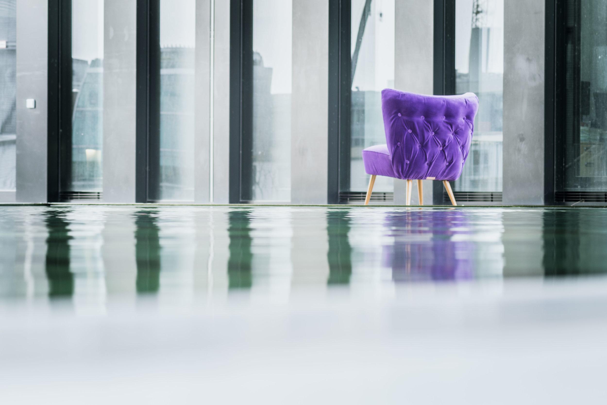 Ultra violet velvet cocktail chair