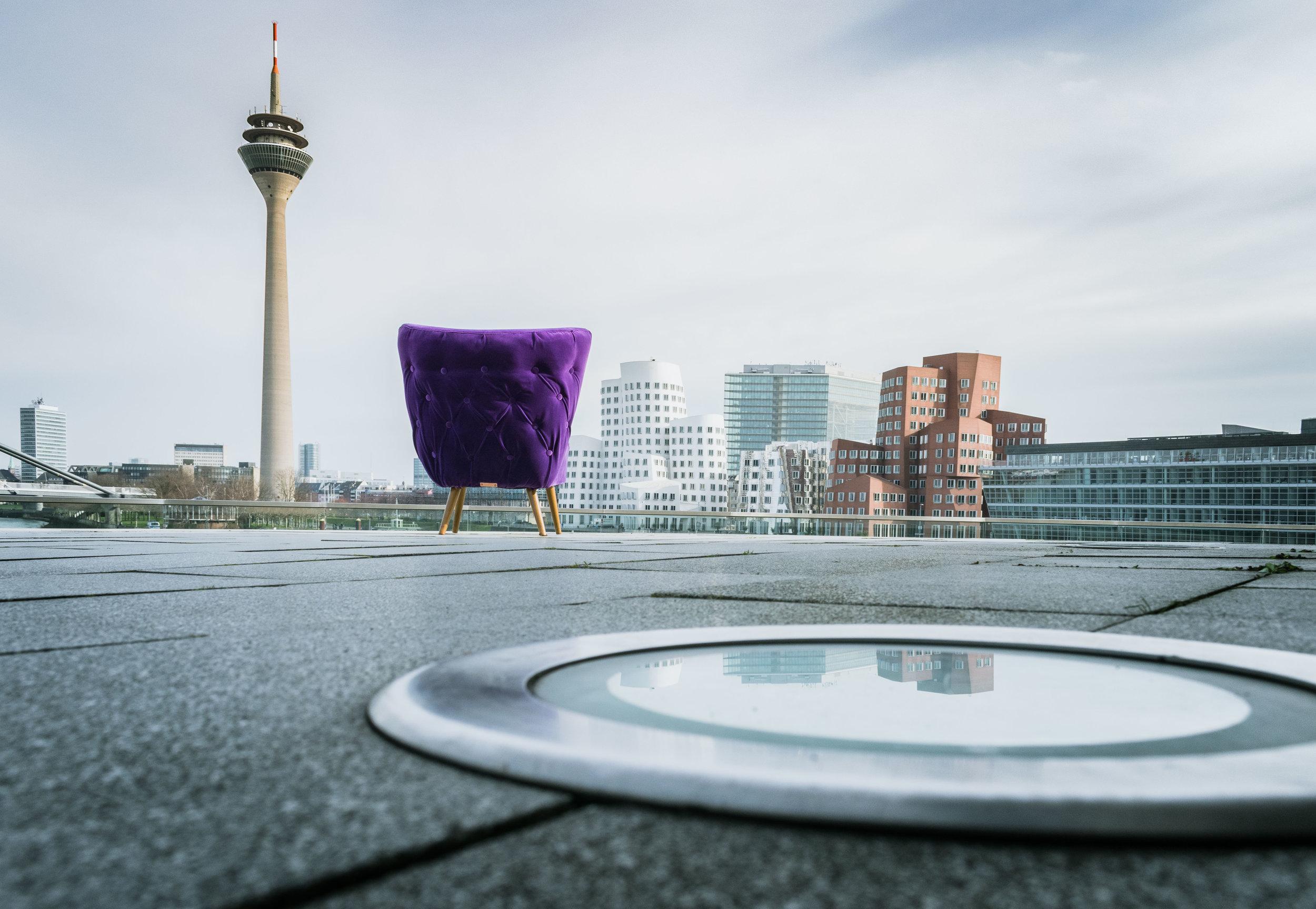 Ultra violet chair photographed in Düsseldorf Medienhafen