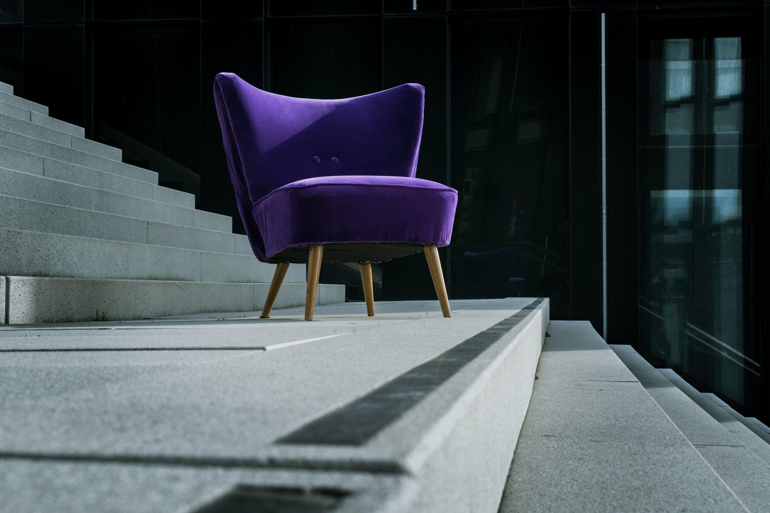Ultra violet velvet accent chair