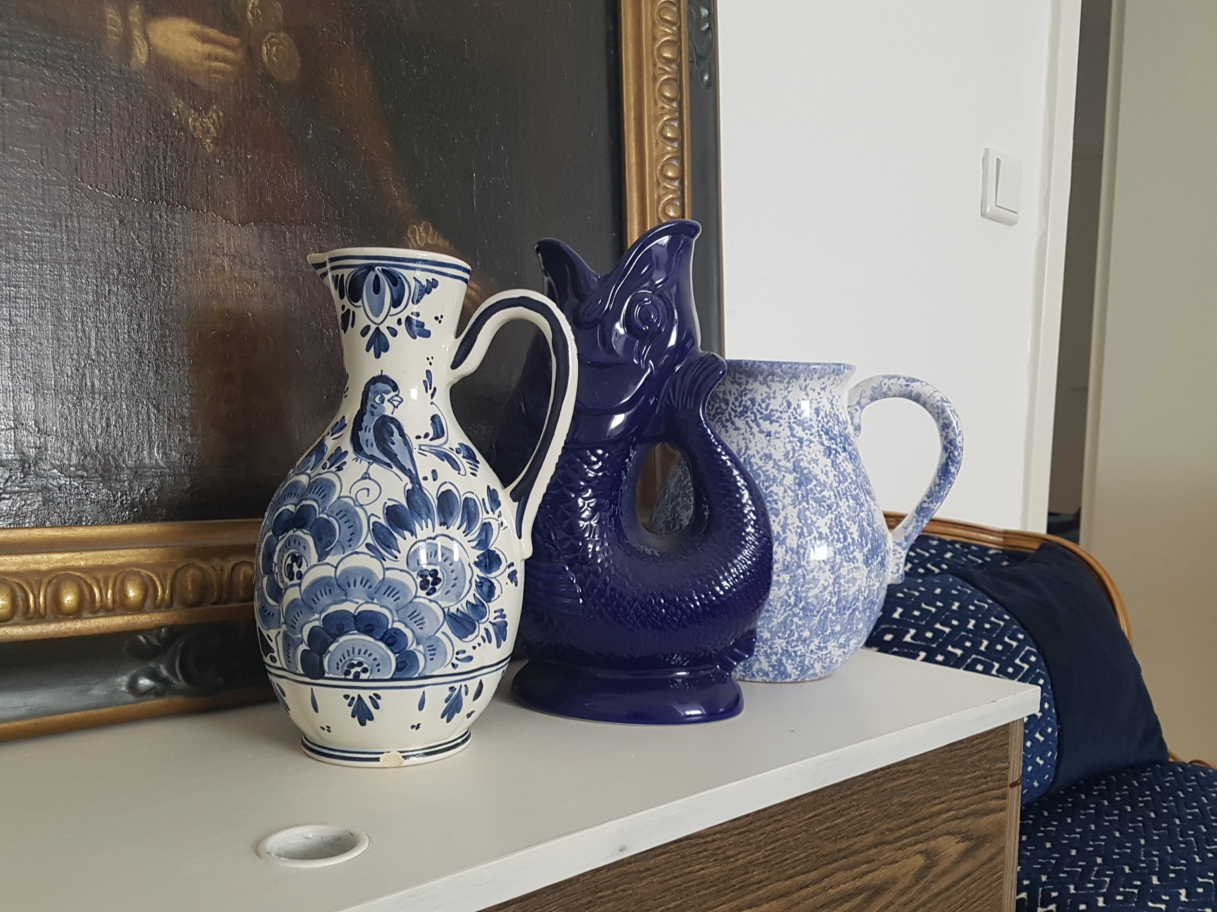 My Delftware at home with my other blue and white ornaments.