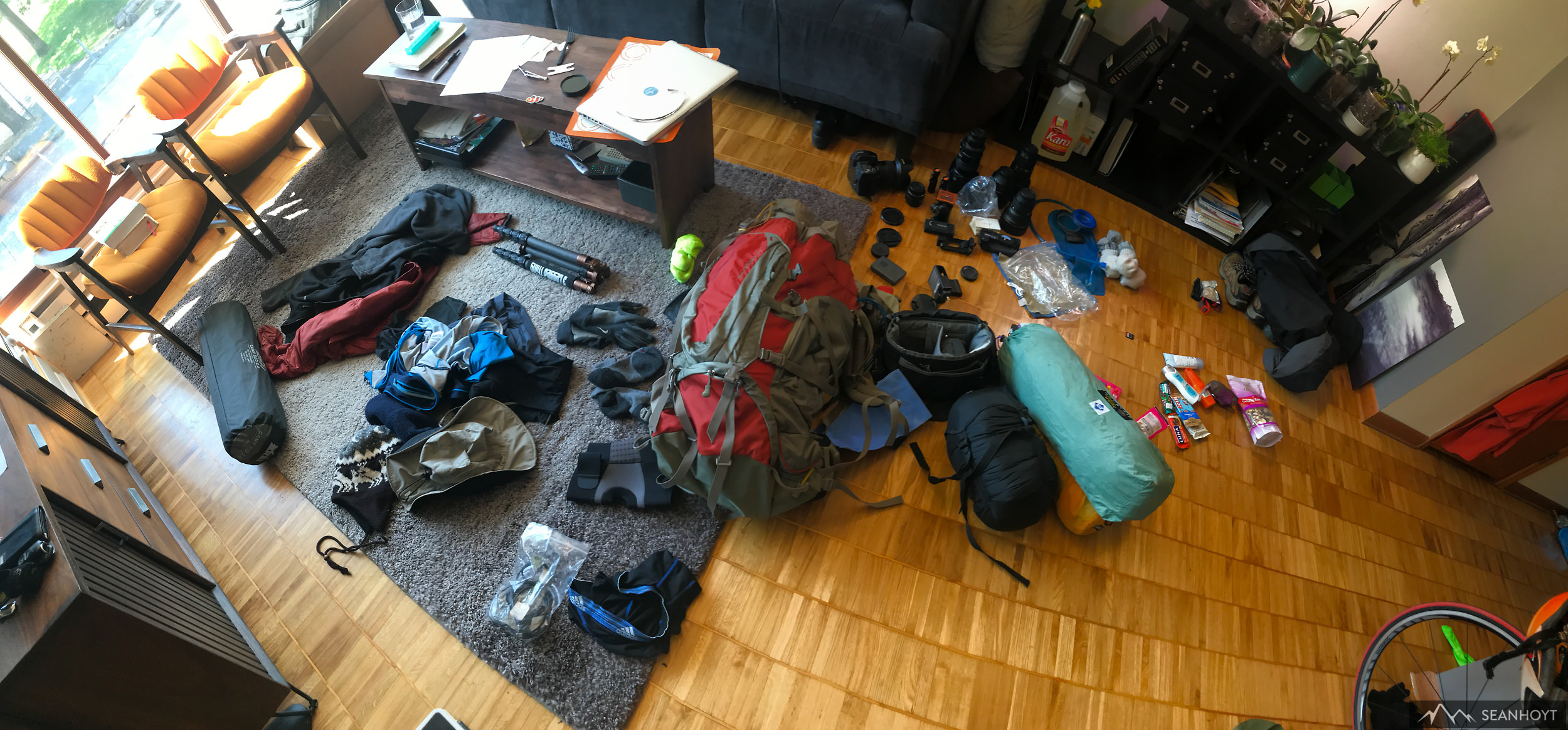 Gregory Baltoro 70L pack filled with:  Three Legged Thing  Eddie carbon fiber tripod sans ball head, tent, sleeping bag, bear canister (not shown), sleeping pad, two Nikon D750, Sigma Art 35mm 1.4, Sigma Art 50mm 1.4, Nikon 14-24mm 2.8, Gigapan Pro V, Camelbak 2L, Sawyer water filtration.