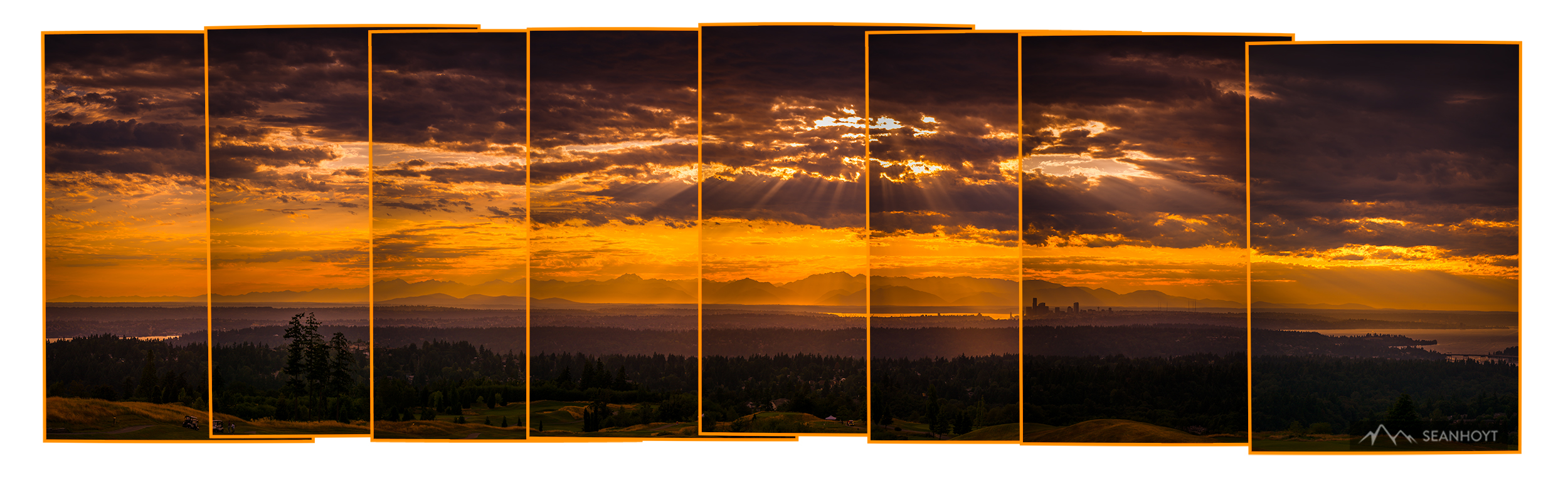 An 8-photo sequence of the Olympic Mountain Range seen past Seattle to the West taken from Newcastle, WA
