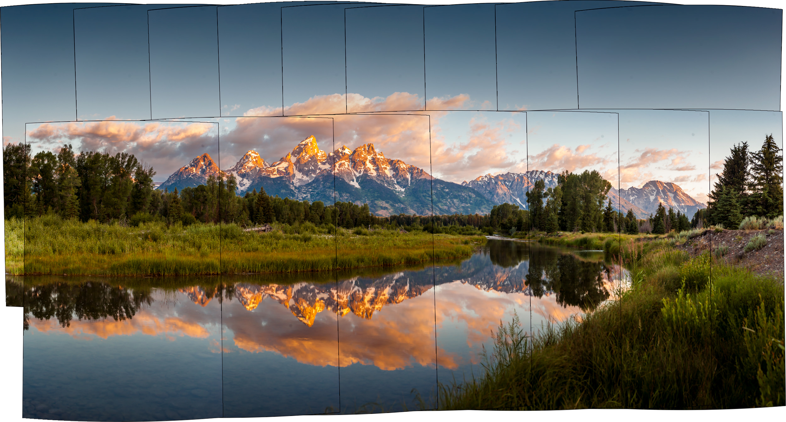 I scanned the scene with my zoom lens to grab 16 photos which were stitched into one large photo.