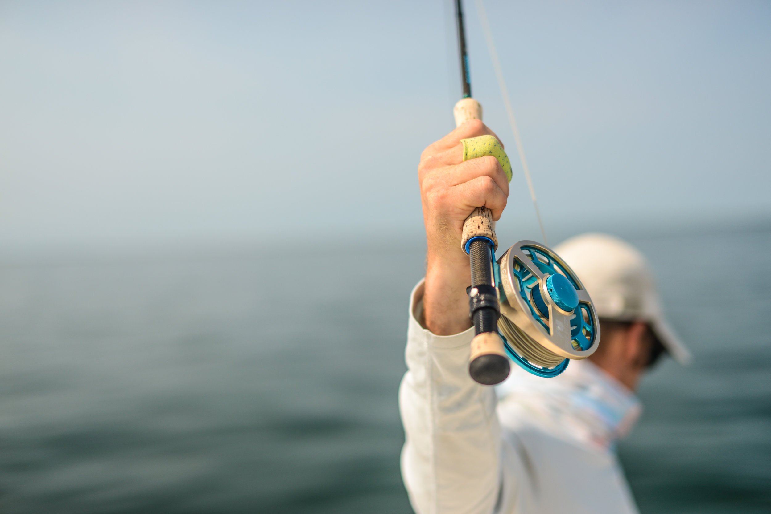 Zak Robinson of Rising Tide Anglers lands a false albacore... these fish test our gear to the fullest.