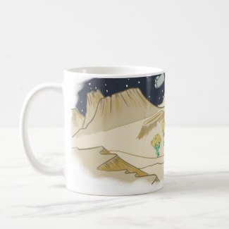 Alien Moon Cheese Mug  - Not NASA, not the president, not even the sharpest-eyed boy knew that a dishonest band of aliens was robbing the moon.