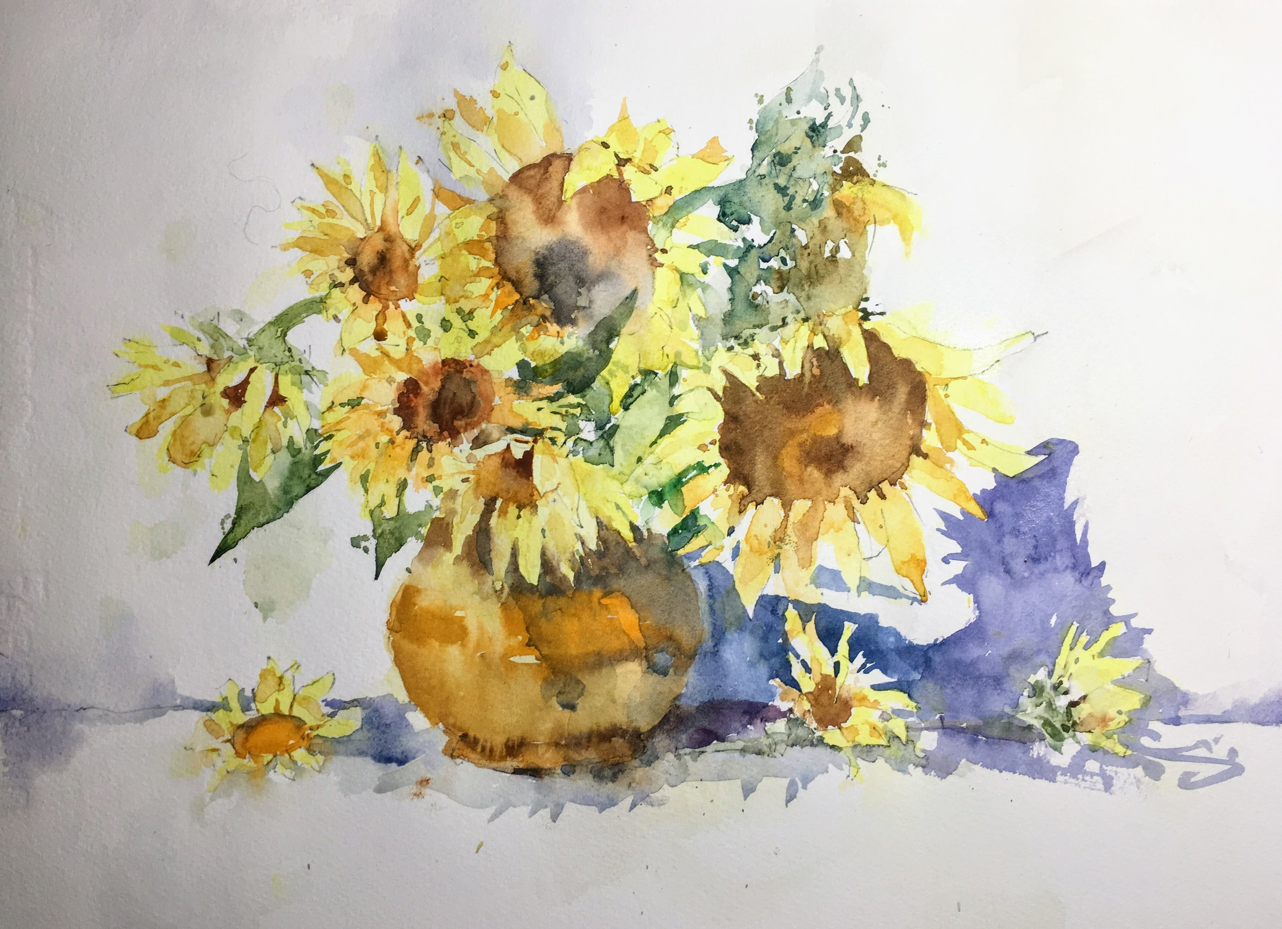 "Sunflowers. Michele Clamp. Watercolor 11""x14"""