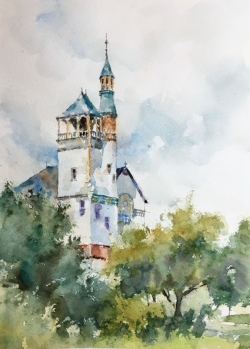 "Marlborough Church. Watercolor 14""x11"""