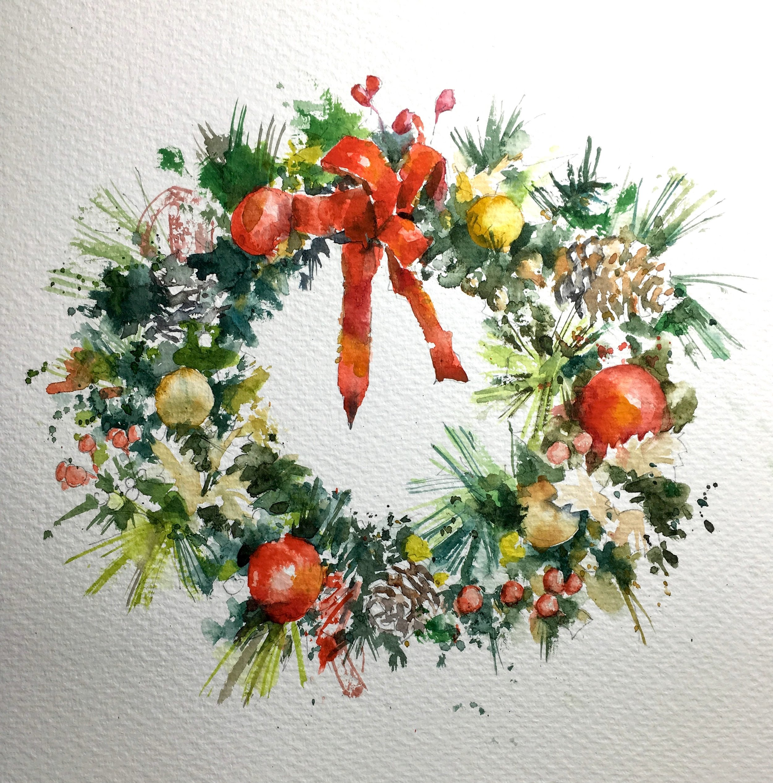 """Christmas Wreath.  Michele Clamp.  Watercolor 11""""x11"""""""