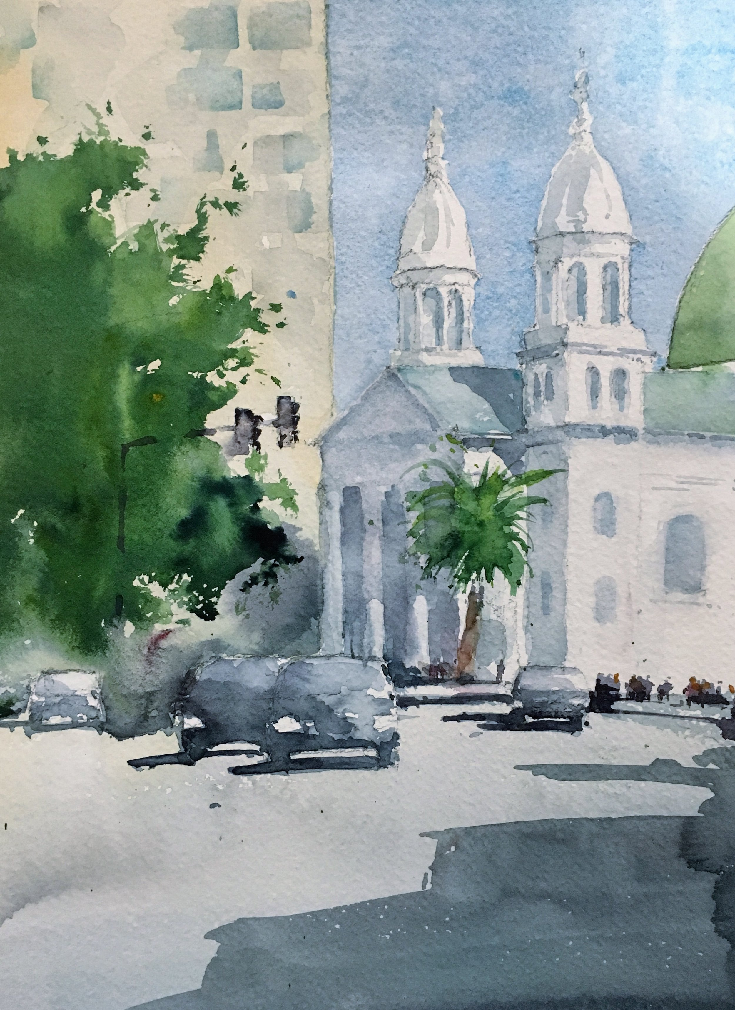 Cathedral of St Joseph, San Jose. Michele Clamp. Watercolor 14x11