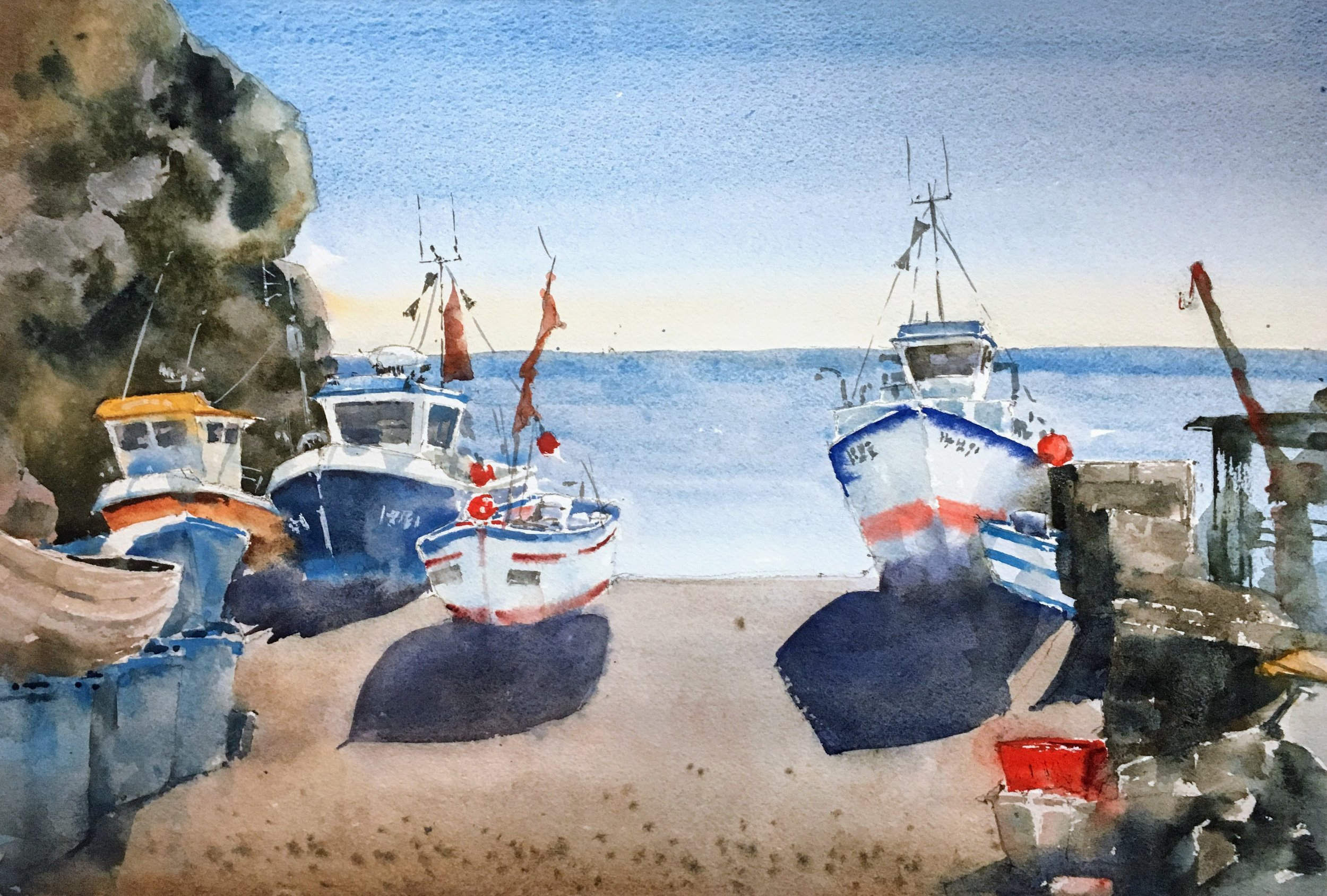 "Cadgwith Harbor, Cornwall. Michele Clamp. Watercolor 12""x18"""