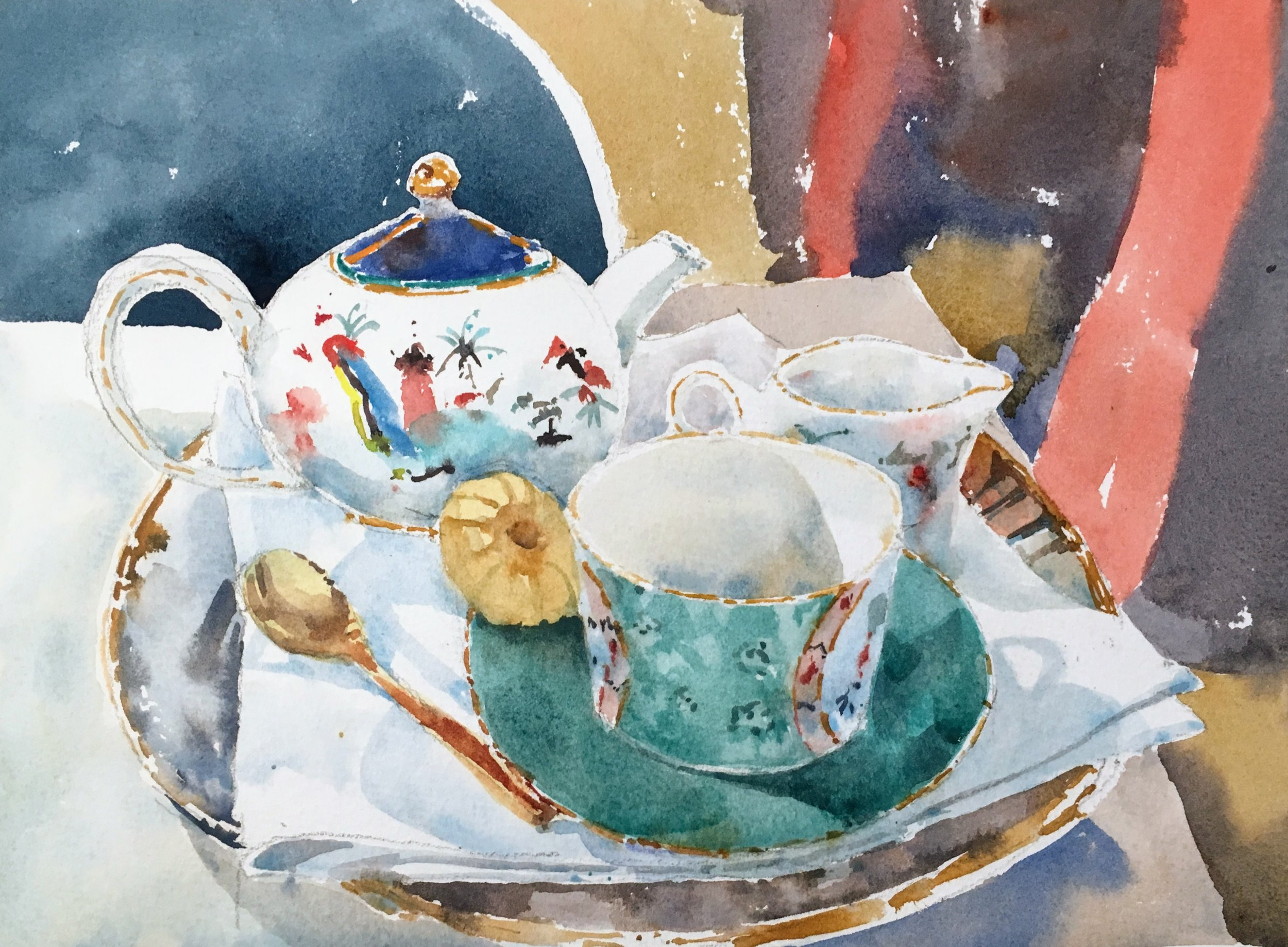 "Wedgewood tea set.  Michele Clamp.  Watercolor 8""x10"""
