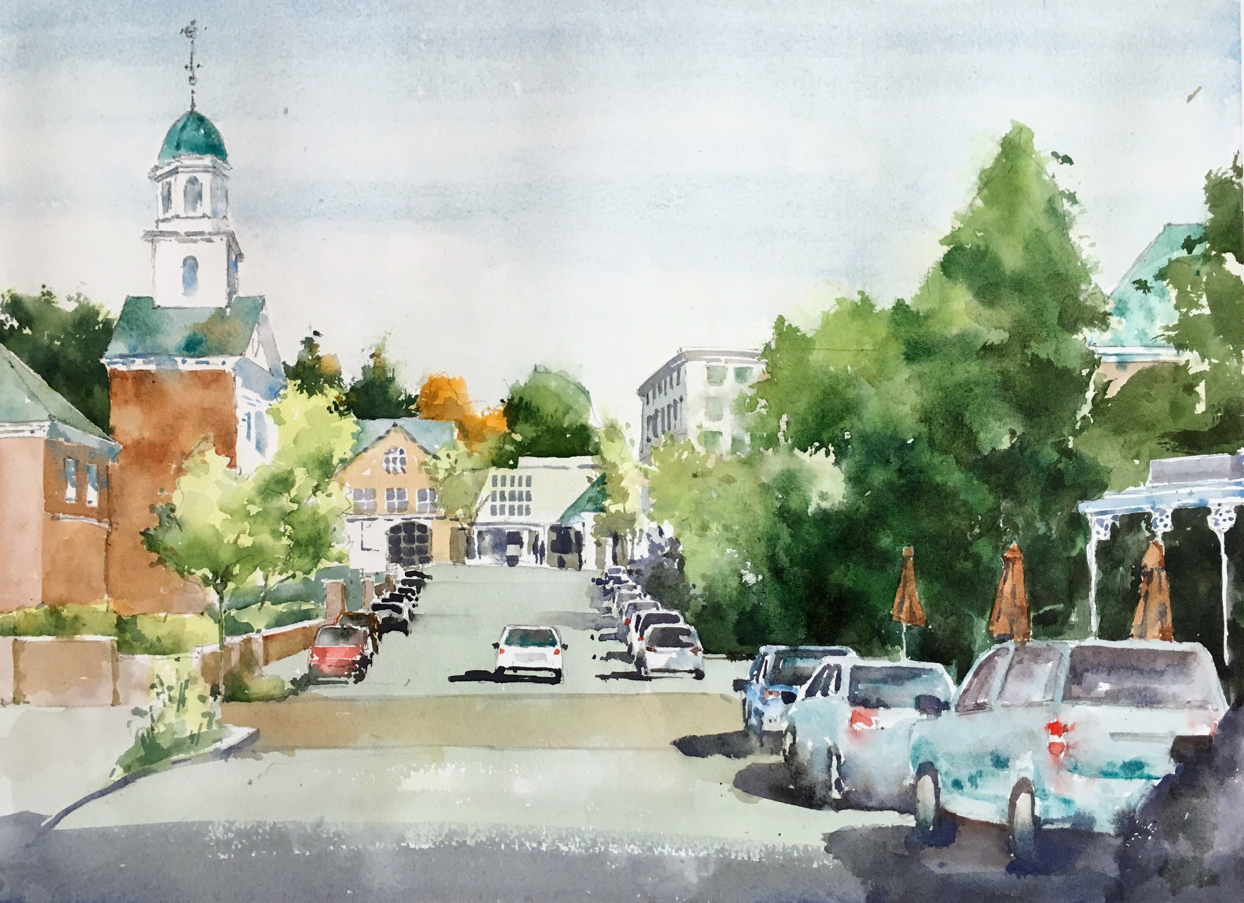 "New England. Michele Clamp. Watercolor. 12""x18"""