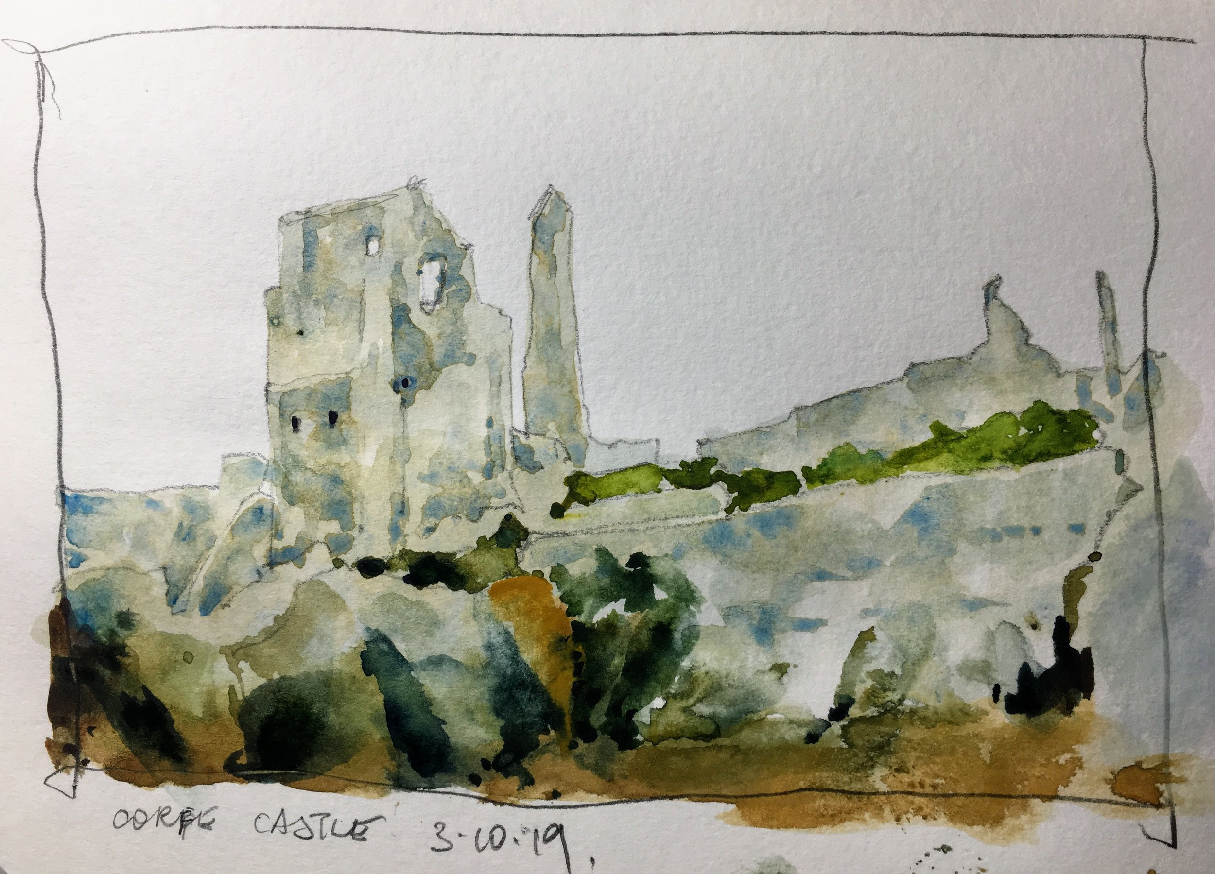 Corfe Castle sketch.   Michele Clamp.  Watercolor.  5x8""