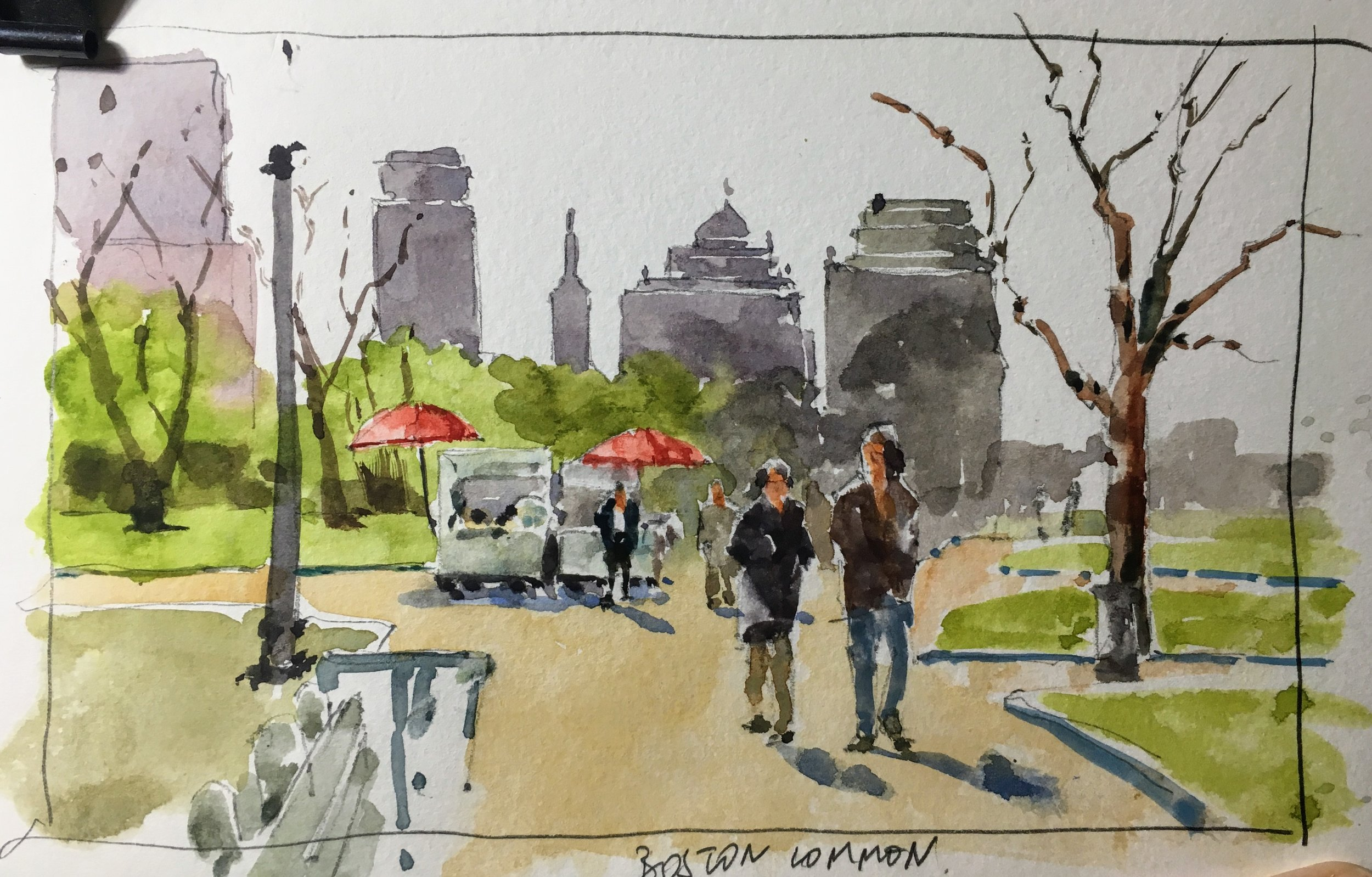 "Boston Common sketch.  Michele Clamp.  Watercolor.  5""x8"""