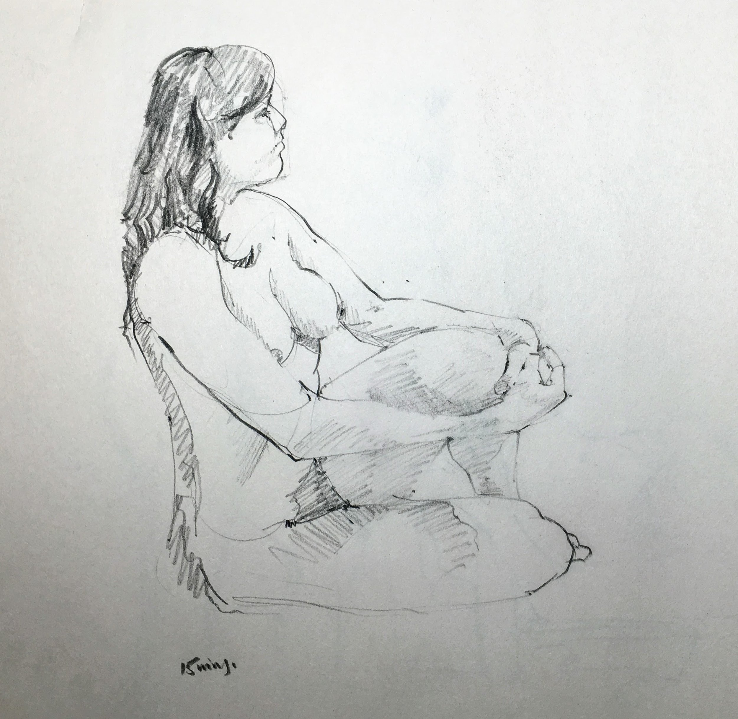 Life Class Drawing.  Michele Clamp.  Conte pencil on newsprint.