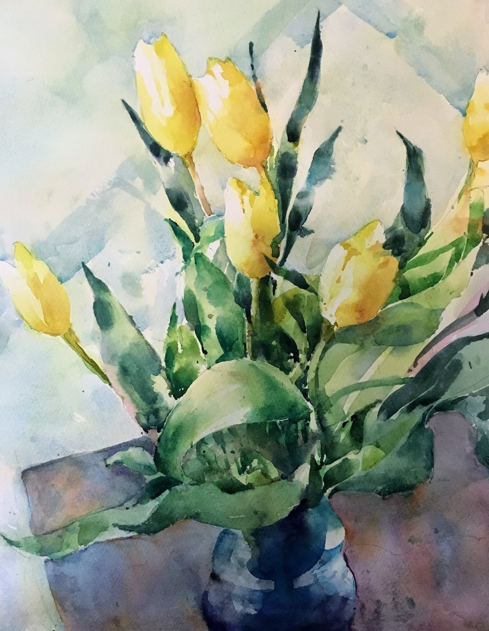 "Tulips.   Michele Clamp.  Watercolor.  14""x11"""