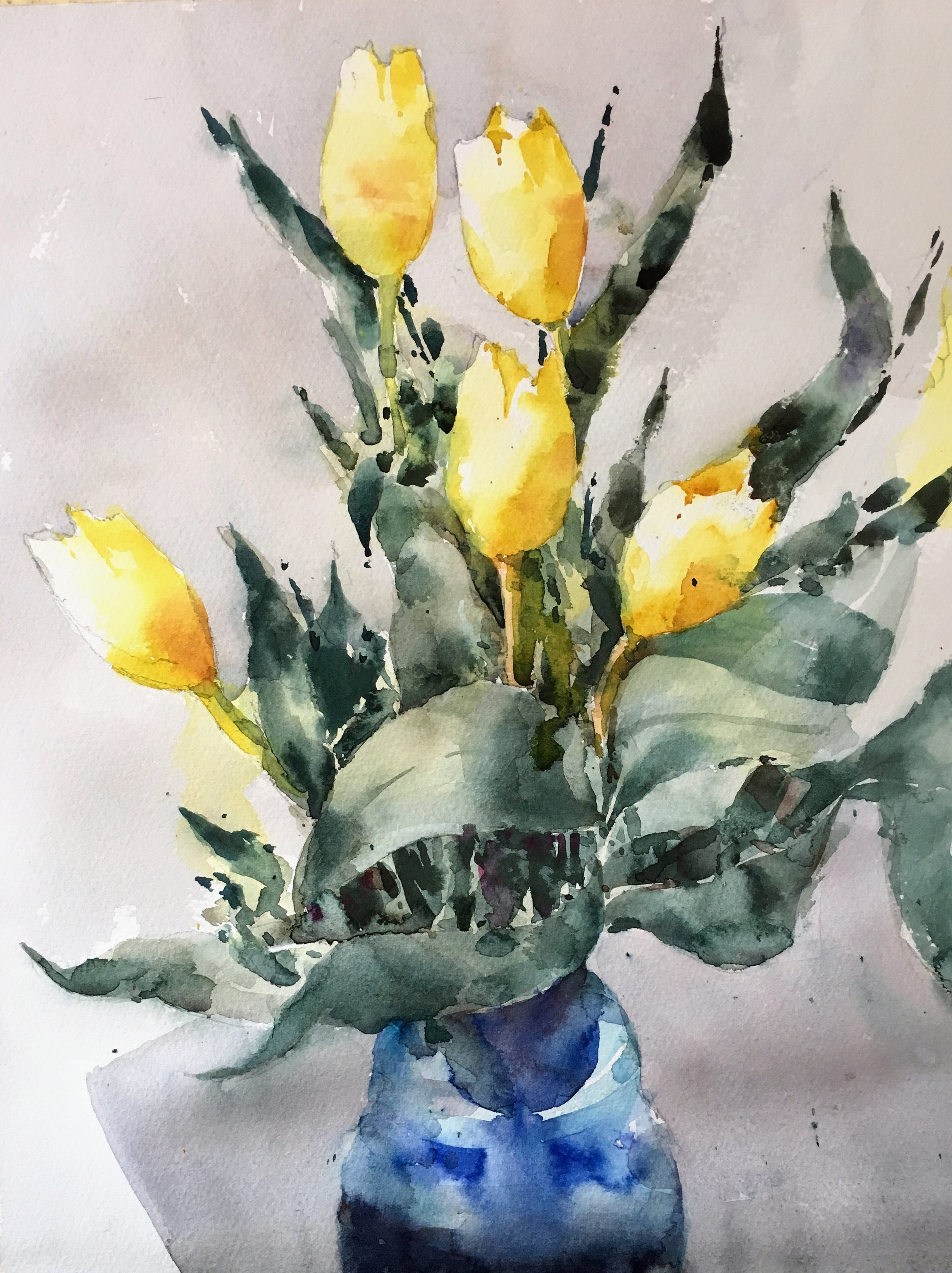 "Tulips.  Watercolor.  Michele Clamp.  14""x11"""