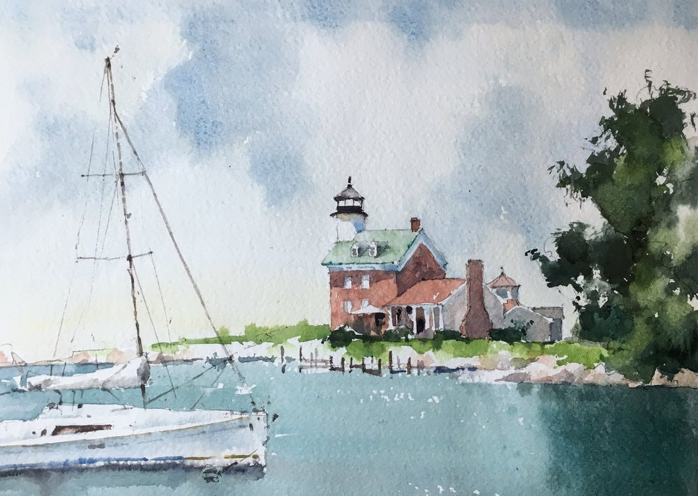 "Morgan Point Lighthouse, Noank, CT. Michele Clamp. Watercolor. 11""x14"""