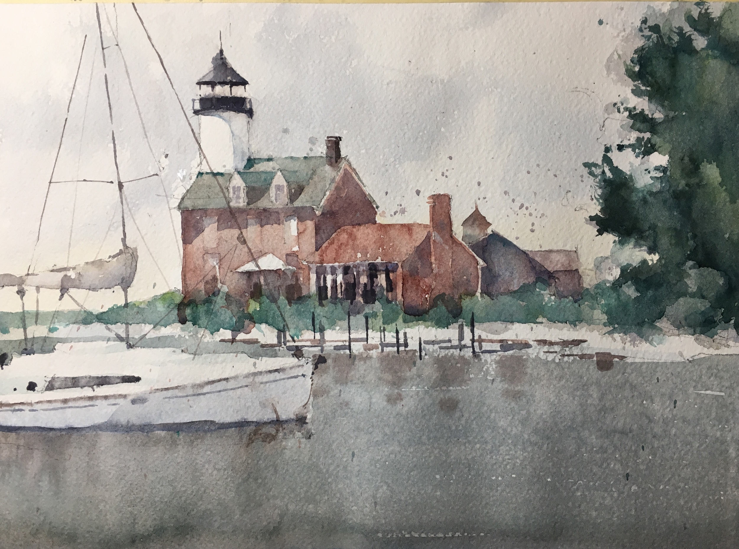 "Morgan Point Light.   Michele Clamp. Watercolor. 11""X14"""