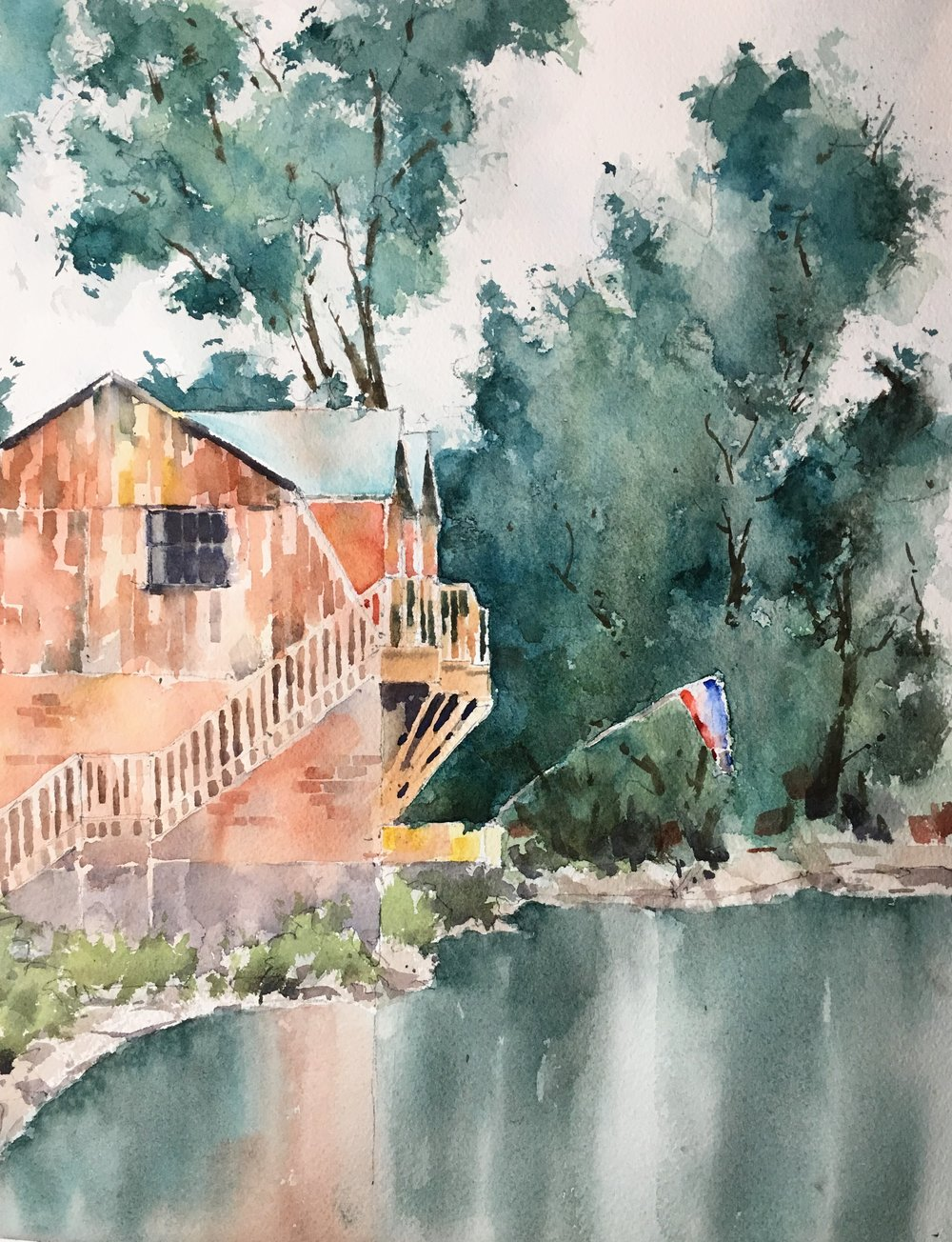 "Shelburne from the flower bridge. Michele Clamp. Watercolor. 14""x11"""