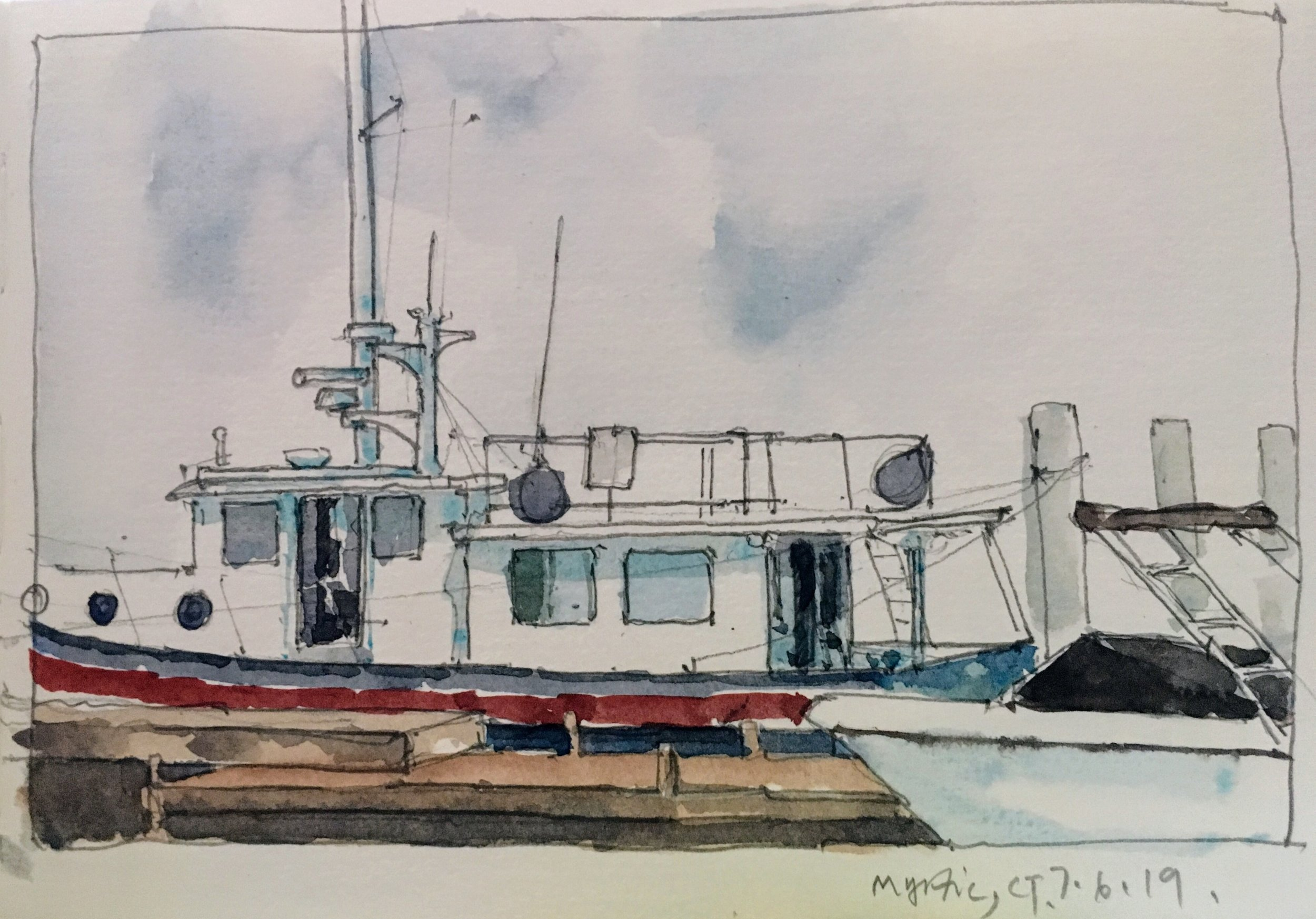 Mystic CT Sketch.   Michele Clamp.  Watercolor