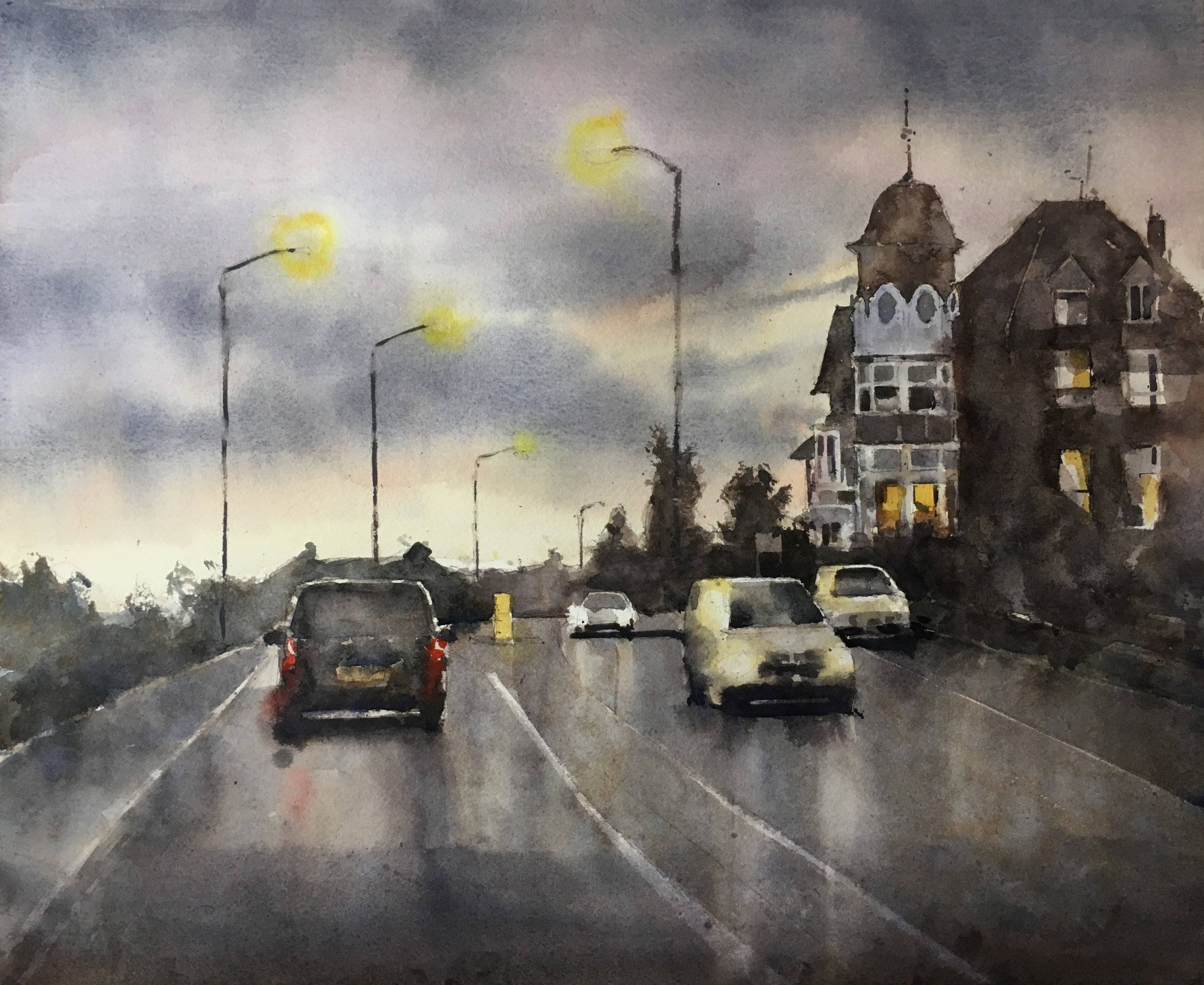 "Southend at dusk. Michele Clamp. Watercolor. 13""x19"""