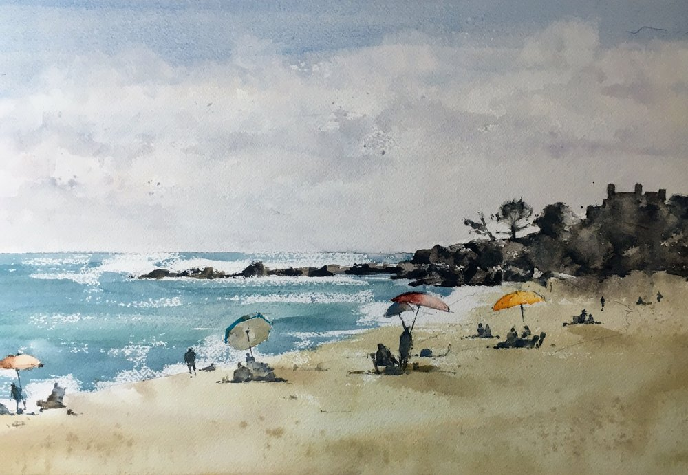 Singing Beach, Manchester by the Sea.  Michele Clamp. Watercolor. 11x14""