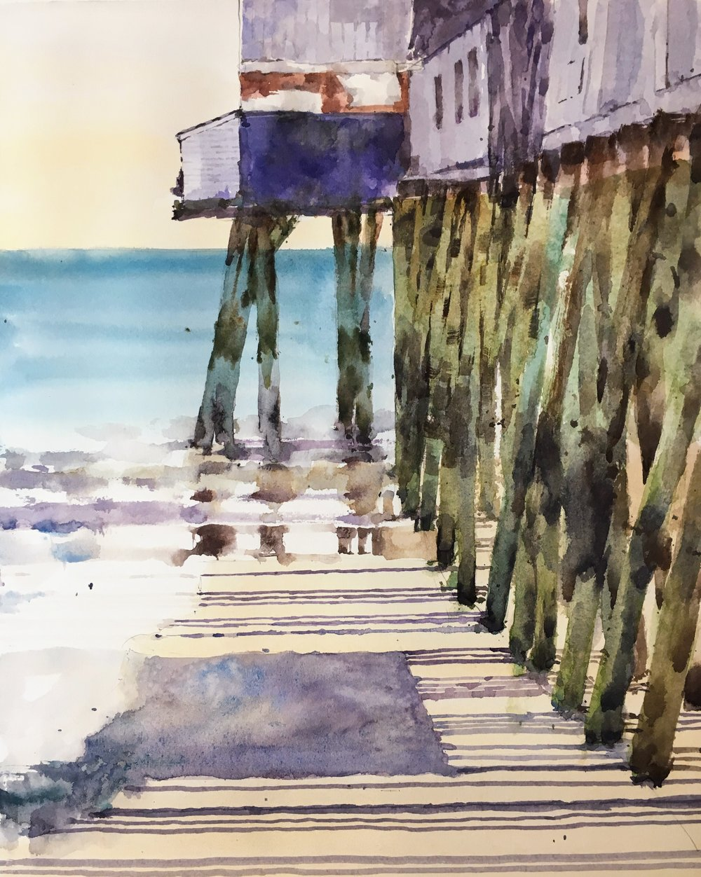 "Pier at Old Orchard Beach, Maine. Michele Clamp. Watercolor. 14""x11"""
