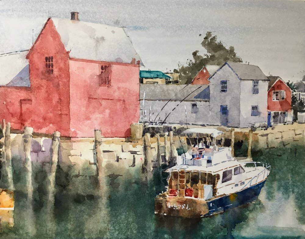 "Motif #1, Rockport. Michele Clamp. Watercolor. 11""x14"""