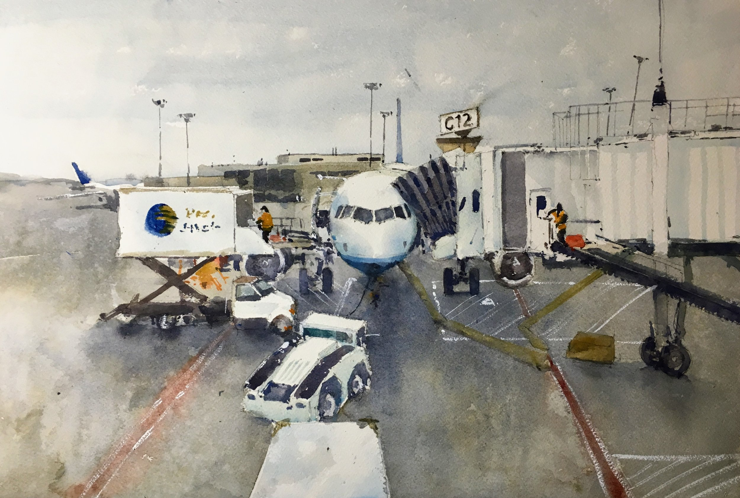 "Logan airport, Boston.  Michele Clamp.  Watercolor.  13""x19"""