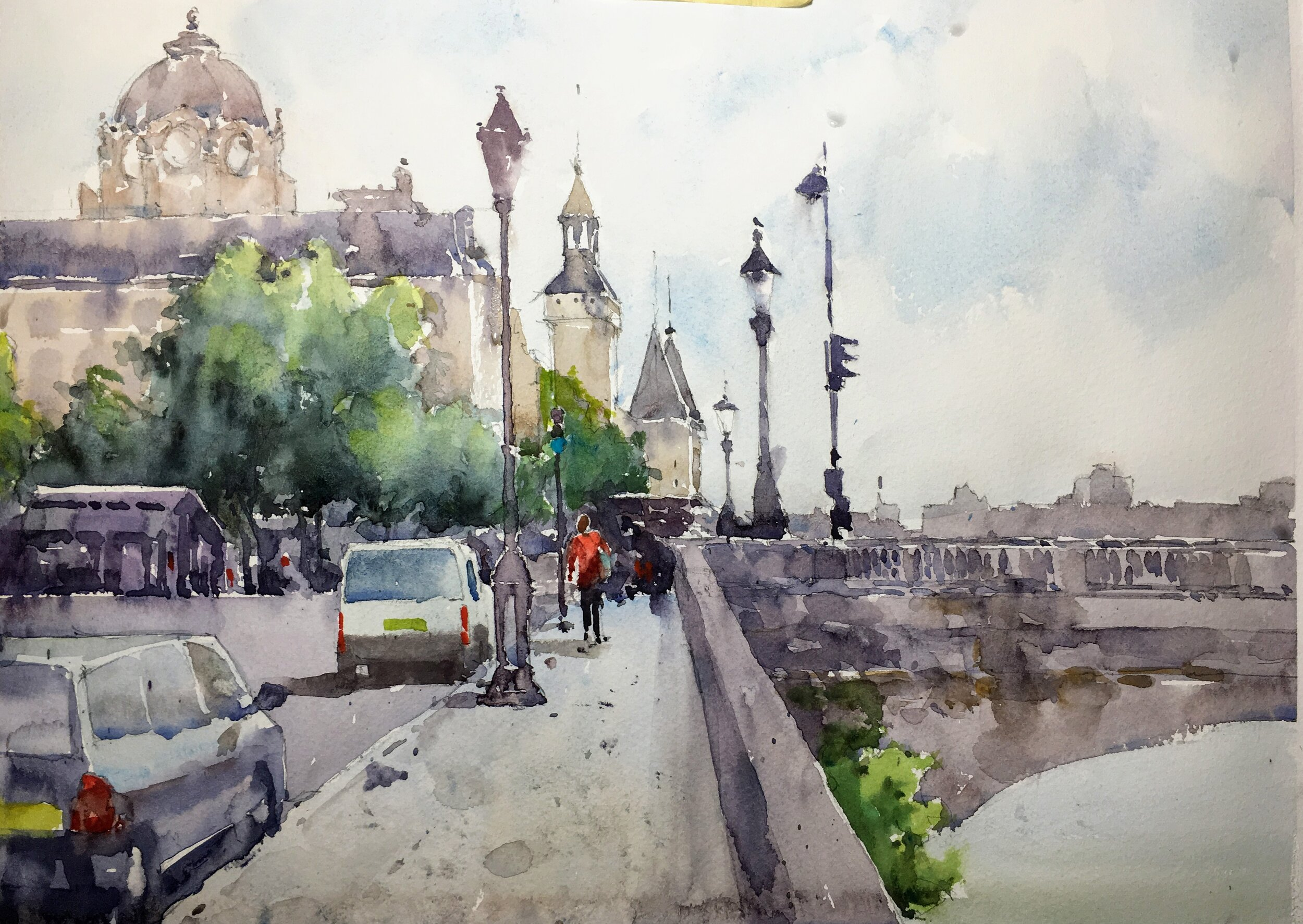 "Paris scene.  Watercolor.  Michele Clamp 11""x14"""