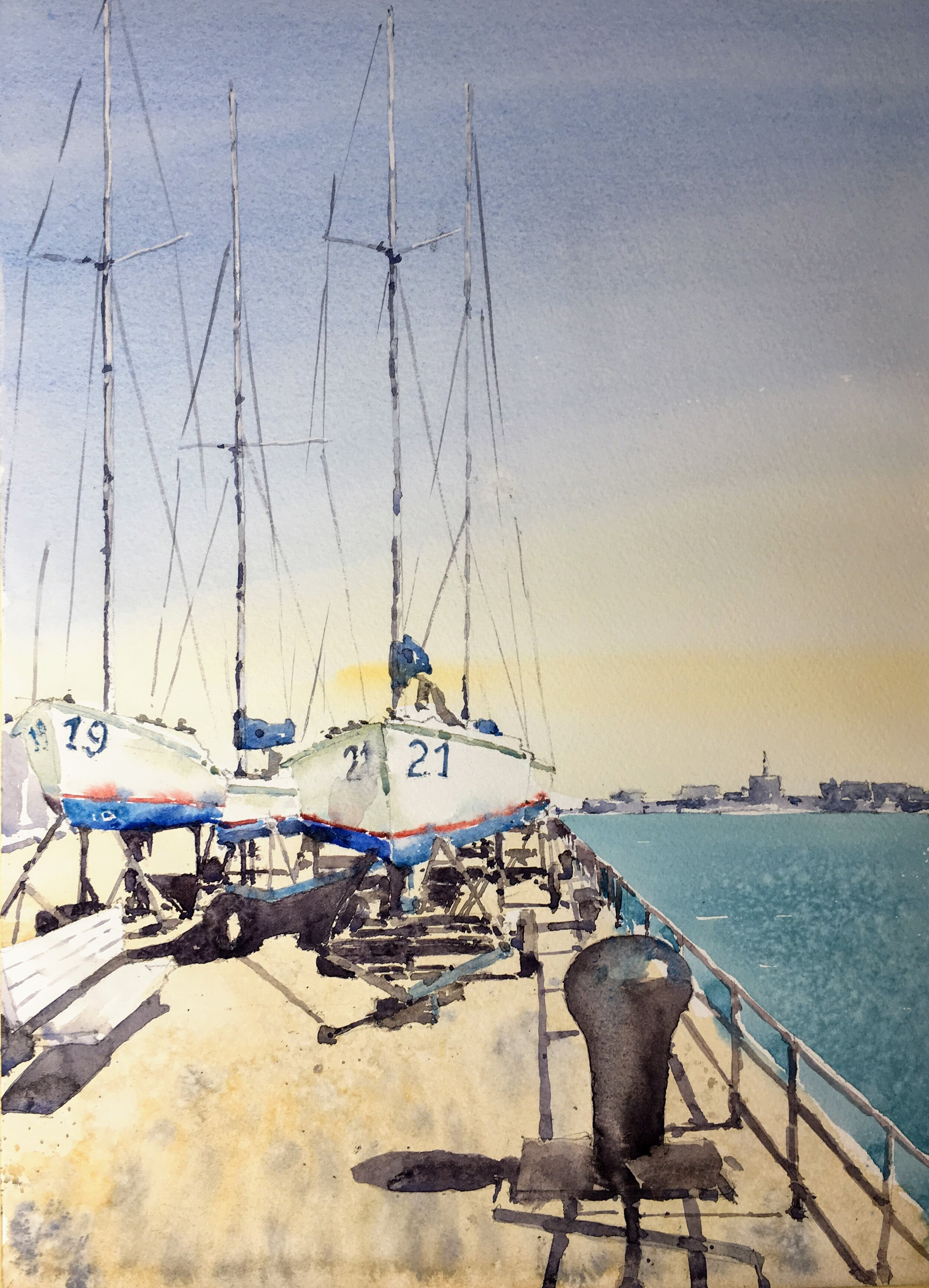 "Boats at the Naval Yard,  Boston Harbor.  Michele Clamp.  Watercolor.  14""x11"""