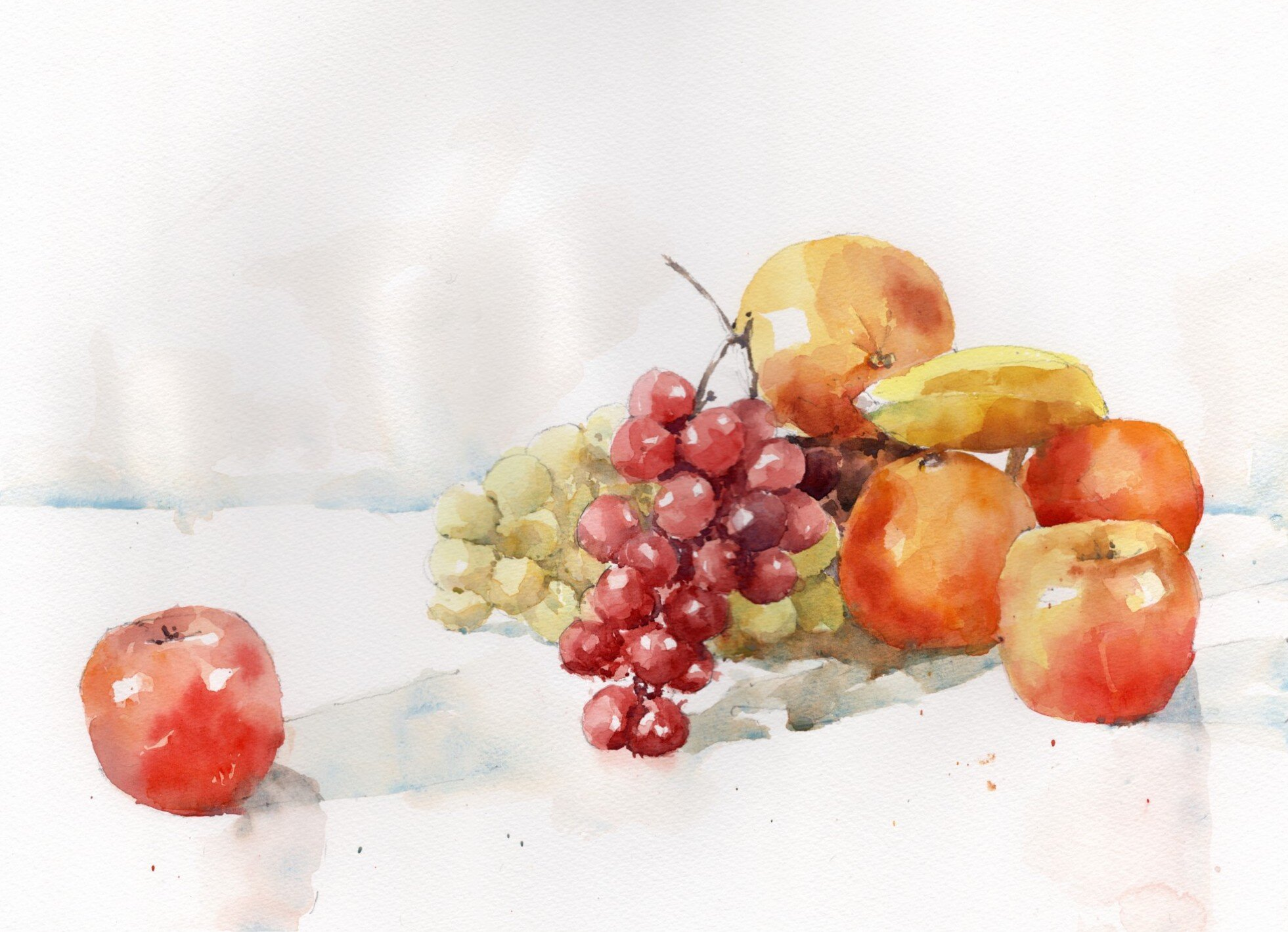 "Fruit Still Life.  Michele Clamp.  Watercolor.  11""x14"""