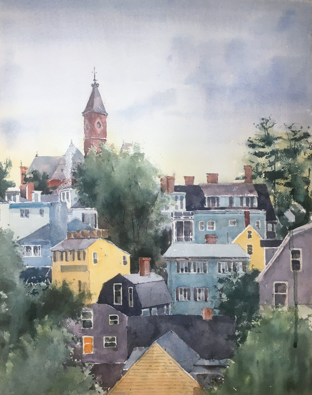 "Marblehead at Sunset. Michele Clamp. Watercolor. 20""x16"""