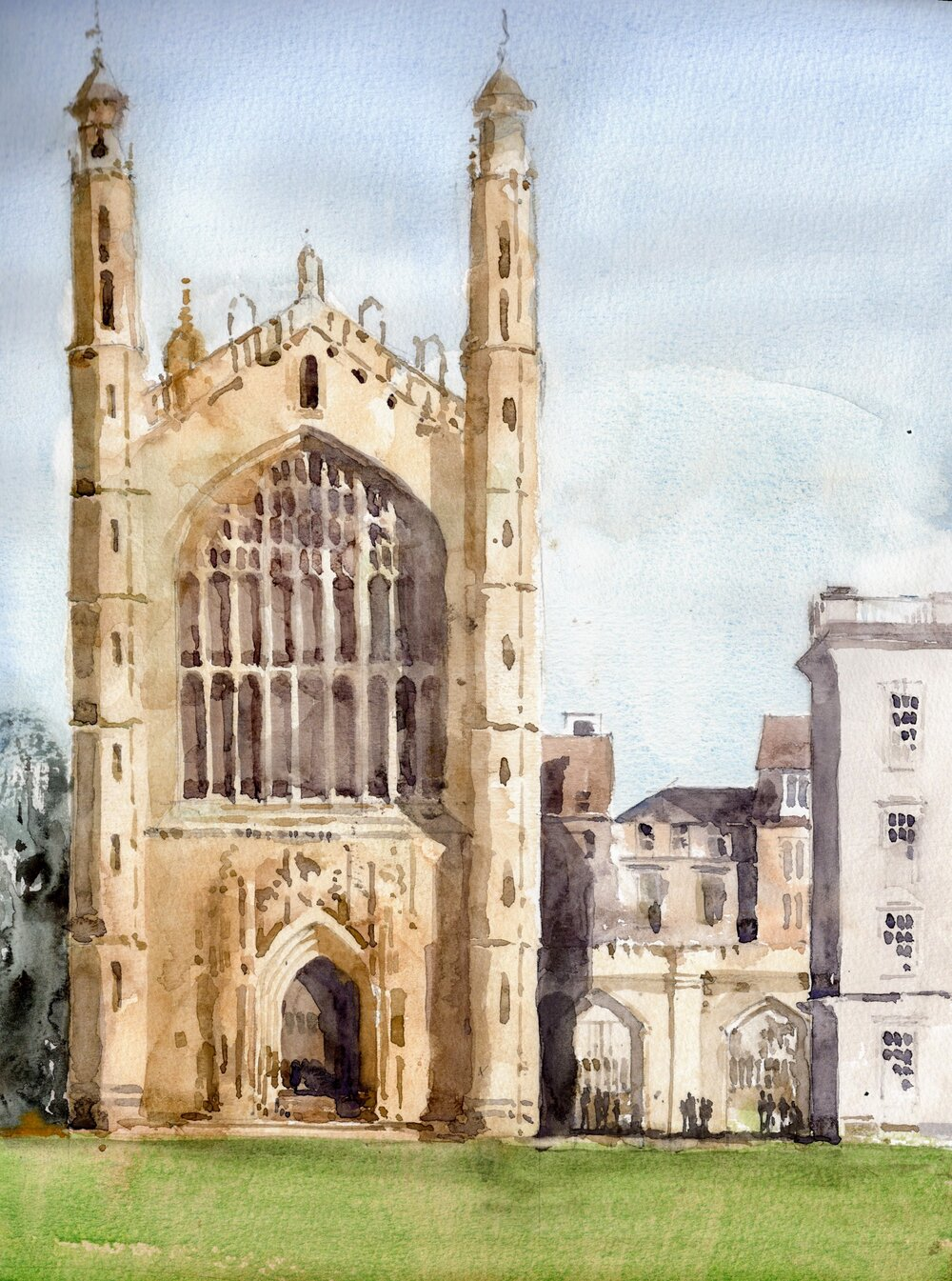 "Kings College, Cambridge.   Michele Clamp.  Watercolor 14""x11"""